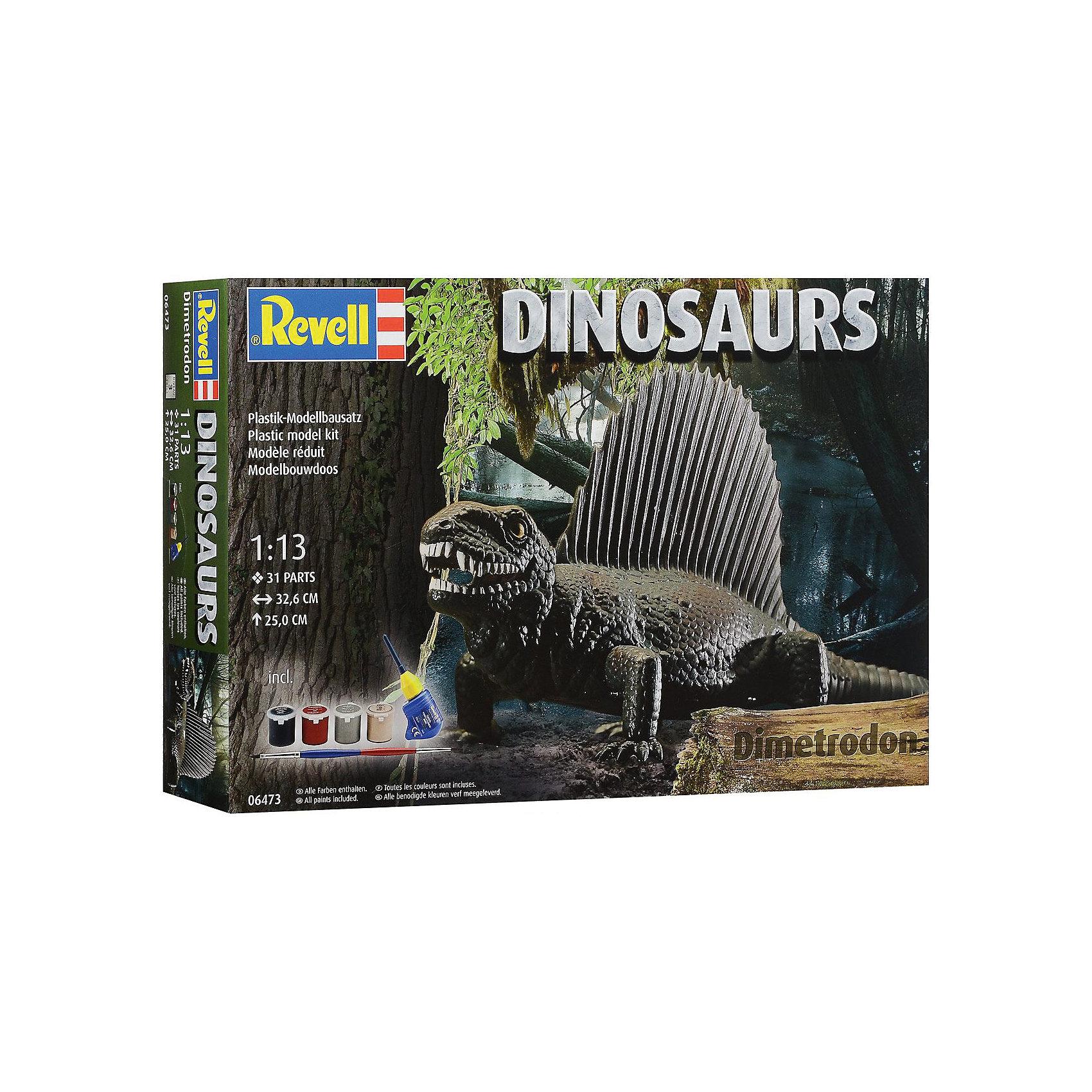 ДиметродонДраконы и динозавры<br>Диметродон – это сборная модель динозавра от компании Ревелл. Все детали модели выполнены из пластика. Они имеют специальные зажимы, которые позволят собрать модель без склеивания. Но для лучшей прочности рекомендуется использовать клей для пластика. После сборки динозавра необходимо самостоятельно покрасить. <br>В собранном виде Диметродон достигает в высоту 25 сантиметров. Модель состоит из 31 деталей. Масштаб модели -  1/13. <br>В набор уже включены 4 банки с акриловой краской, кисточка и клей для пластика. Этих расходных материалов будет достаточно для сборки данного динозавра. Они не станут лишними и при сборке других моделей. <br>Модель рекомендована для взрослых и детей в возрасте от 10 лет.<br><br>Ширина мм: 389<br>Глубина мм: 251<br>Высота мм: 73<br>Вес г: 451<br>Возраст от месяцев: 120<br>Возраст до месяцев: 180<br>Пол: Мужской<br>Возраст: Детский<br>SKU: 4150239