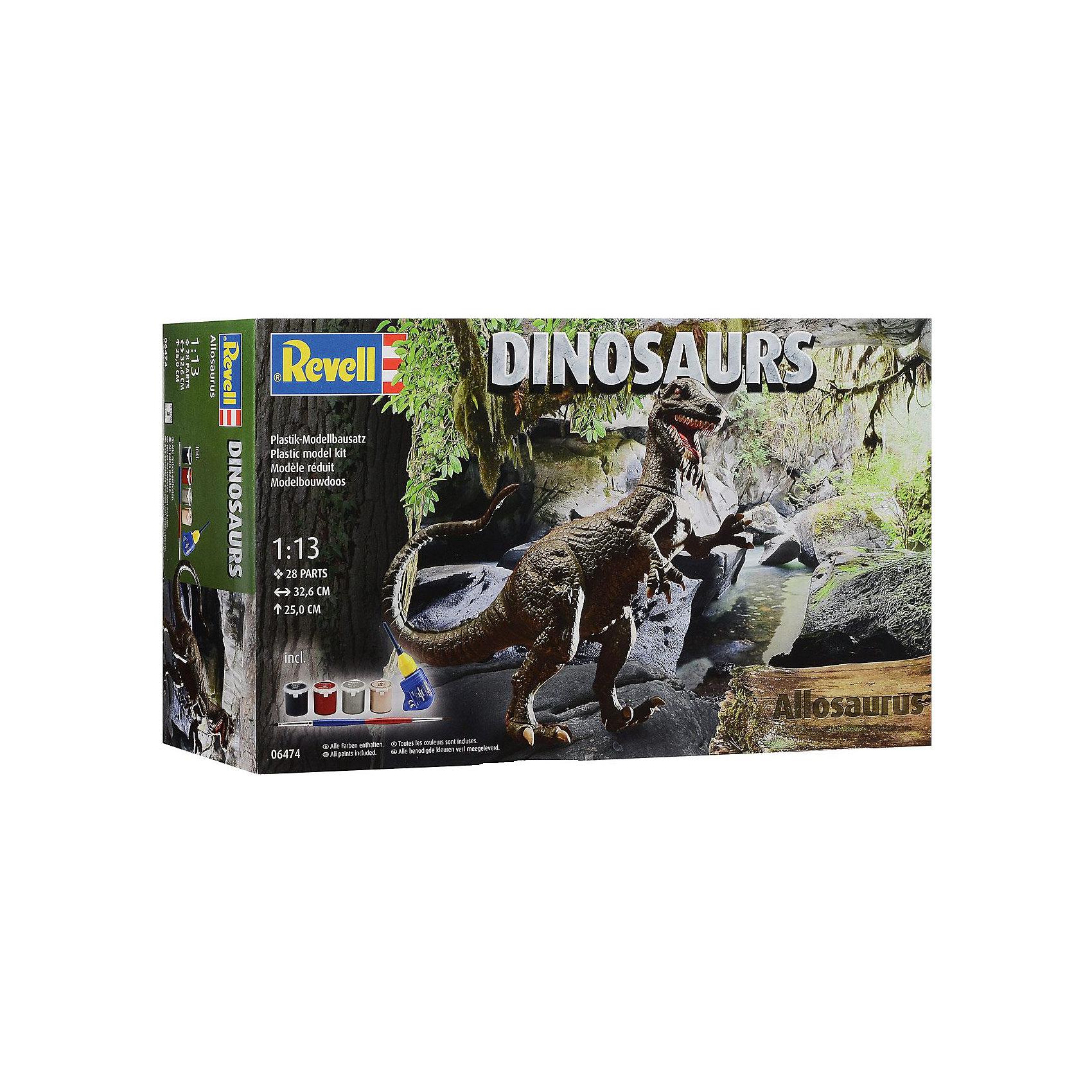 Аллозавр, RevellДраконы и динозавры<br>Характеристики товара:<br><br>• возраст от 10 лет;<br>• материал: пластик;<br>• в комплекте: 28 деталей, 4 банки с краской, кисточка, клей;<br>• высота собранной модели 25 см;<br>• масштаб 1:13;<br>• размер упаковки 44х25х11 см;<br>• вес упаковки 570 гр.;<br>• страна производитель: Польша.<br><br>Сборная модель «Аллозавр» Revell позволит познакомиться с миром доисторических обитателей нашей планеты и собрать модель Аллозавра. Все детали легко соединяются между собой без дополнительных инструментов, для прочности они склеиваются между собой. Готовую модель детям предстоит самостоятельно раскрасить акриловыми красками. Такое занятие не только увлечет ребенка, но и способствует развитию моторики рук, логического мышления, усидчивости.<br><br>Аллозавра Revell можно приобрести в нашем интернет-магазине.<br><br>Ширина мм: 442<br>Глубина мм: 248<br>Высота мм: 115<br>Вес г: 572<br>Возраст от месяцев: 120<br>Возраст до месяцев: 180<br>Пол: Мужской<br>Возраст: Детский<br>SKU: 4150240