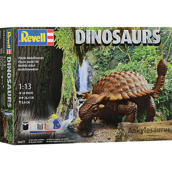 Анкилозавр, RevellМодели для склеивания<br>Характеристики товара:<br><br>• возраст от 10 лет;<br>• материал: пластик;<br>• в комплекте: 30 деталей, 4 банки с краской, кисточка, клей;<br>• размер собранной модели 26,4х8 см;<br>• масштаб 1:13;<br>• размер упаковки 24,8х38,6х6,7 см;<br>• вес упаковки 520 гр.;<br>• страна производитель: Польша.<br><br>Сборная модель «Анкилозавр» Revell позволит познакомиться с миром доисторических обитателей нашей планеты и собрать модель Анкилозавра. Все детали легко соединяются между собой без дополнительных инструментов, для прочности они склеиваются между собой. Готовую модель детям предстоит самостоятельно раскрасить акриловыми красками. Такое занятие не только увлечет ребенка, но и способствует развитию моторики рук, логического мышления, усидчивости.<br><br>Анкилозавра Revell можно приобрести в нашем интернет-магазине.<br><br>Ширина мм: 392<br>Глубина мм: 248<br>Высота мм: 76<br>Вес г: 453<br>Возраст от месяцев: 120<br>Возраст до месяцев: 180<br>Пол: Мужской<br>Возраст: Детский<br>SKU: 4150241