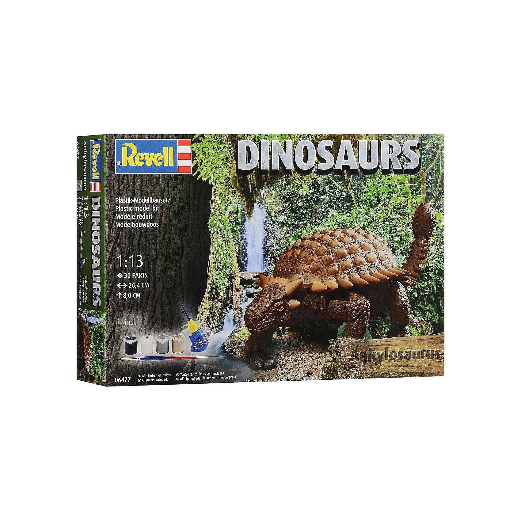 Анкилозавр, RevellДраконы и динозавры<br>Характеристики товара:<br><br>• возраст от 10 лет;<br>• материал: пластик;<br>• в комплекте: 30 деталей, 4 банки с краской, кисточка, клей;<br>• размер собранной модели 26,4х8 см;<br>• масштаб 1:13;<br>• размер упаковки 24,8х38,6х6,7 см;<br>• вес упаковки 520 гр.;<br>• страна производитель: Польша.<br><br>Сборная модель «Анкилозавр» Revell позволит познакомиться с миром доисторических обитателей нашей планеты и собрать модель Анкилозавра. Все детали легко соединяются между собой без дополнительных инструментов, для прочности они склеиваются между собой. Готовую модель детям предстоит самостоятельно раскрасить акриловыми красками. Такое занятие не только увлечет ребенка, но и способствует развитию моторики рук, логического мышления, усидчивости.<br><br>Анкилозавра Revell можно приобрести в нашем интернет-магазине.<br><br>Ширина мм: 392<br>Глубина мм: 248<br>Высота мм: 76<br>Вес г: 453<br>Возраст от месяцев: 120<br>Возраст до месяцев: 180<br>Пол: Мужской<br>Возраст: Детский<br>SKU: 4150241