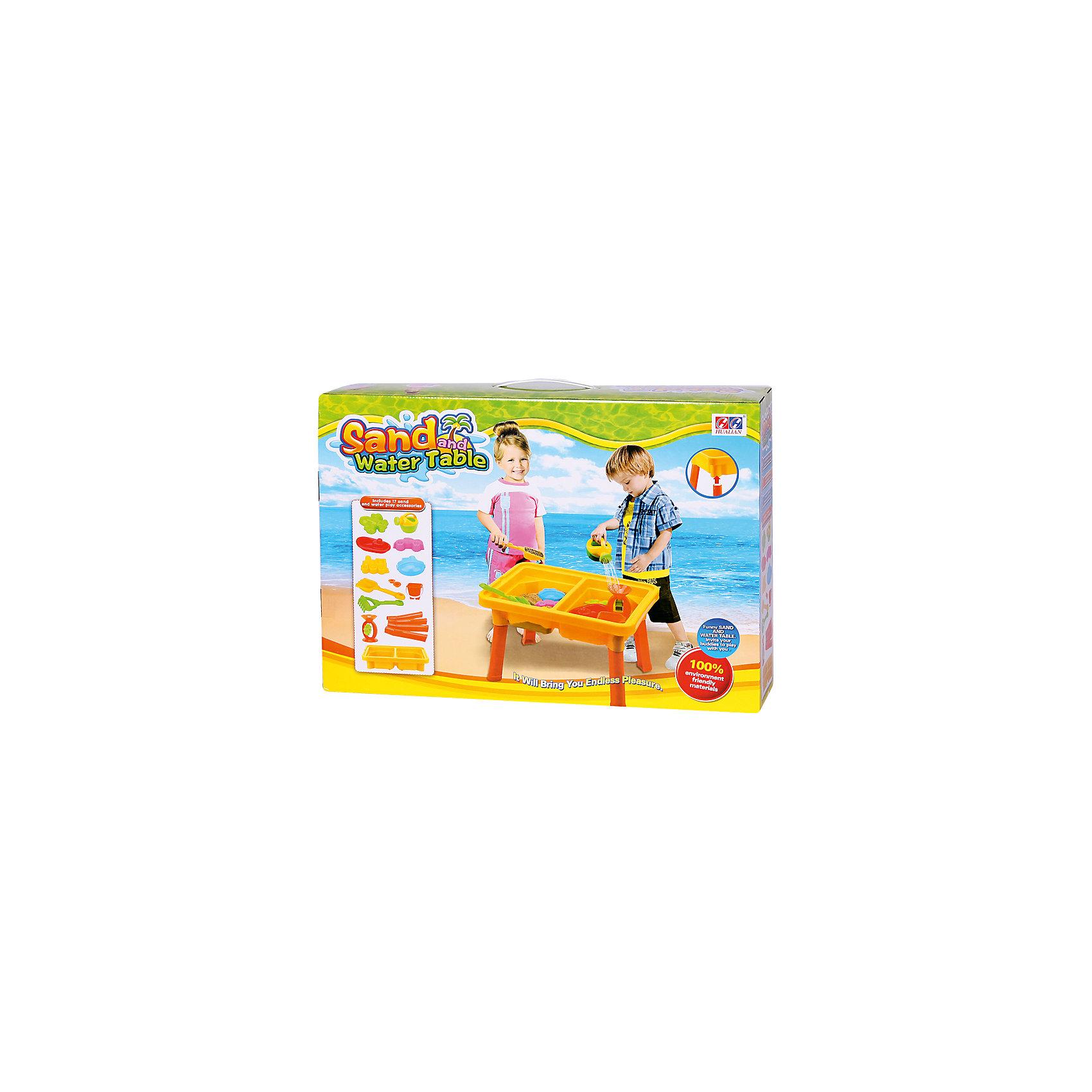 Стол для игр с песком и водой Водяные приключения, Hualian ToysИграем в песочнице<br>Целый водный мир в столешнице - тут и водяное колесо, и лодка, и песчаные берега. Безграничное пространство для фантазий!  (в комплекте набор для песка из 12  предметов, 58*41*H37)<br><br>Ширина мм: 580<br>Глубина мм: 140<br>Высота мм: 415<br>Вес г: 2250<br>Возраст от месяцев: 36<br>Возраст до месяцев: 72<br>Пол: Унисекс<br>Возраст: Детский<br>SKU: 4150559