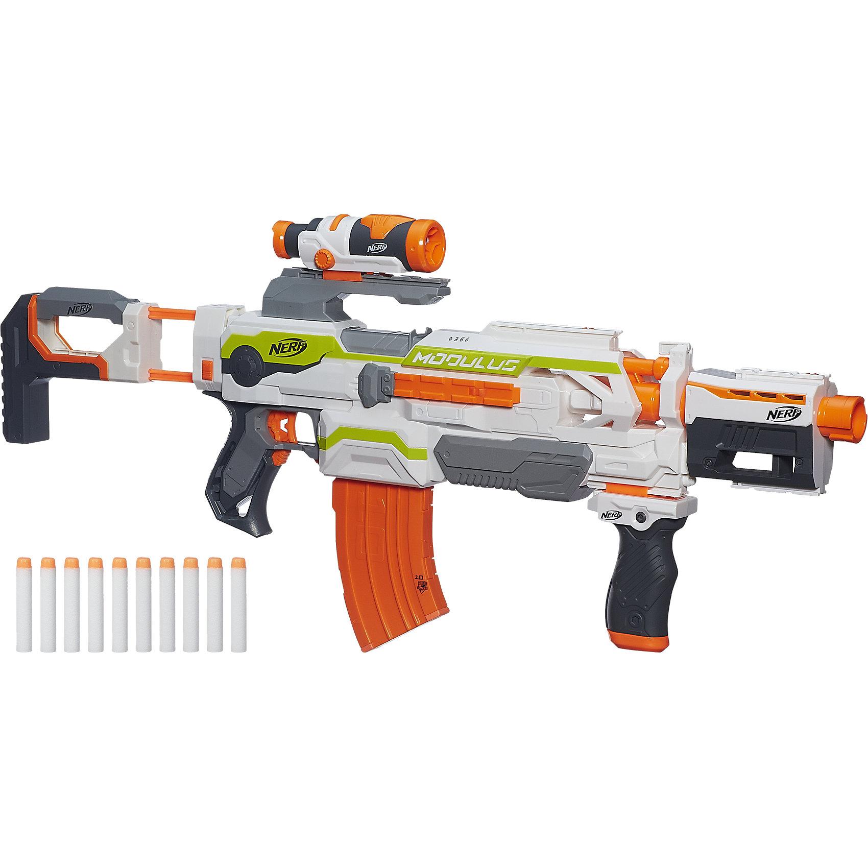 Бластер Модулус Экс-10, NERFСюжетно-ролевые игры<br>Модулос Бластер, NERF (Нерф) – это совершенно новый вид детского игрушечного оружия, который состоит из отдельных модулей. <br><br>Характеристики:<br>-Полностью автоматический <br>-Стреляет на расстояние до 28 метров<br>-8 рейлингов для установки апгрейдов (приобретаются отдельно)<br>-Автоматическая стрельба<br>-Оптический прицел<br>-Подставка-упор для стрельбы<br>-Насадка на дуло для больше точности<br>-Приклад<br>-Магазин на 10 стрел<br><br>Дополнительная информация:<br>-Материалы: пластик<br>-Артикул производителя: B1538<br><br>С Модулос Бластер от Нерф у тебя впереди множество часов удовольствия, наполненных энергией и спортивным азартом!<br><br>Модулос Бластер, NERF (Нерф) можно купить в нашем магазине.<br><br>Ширина мм: 756<br>Глубина мм: 383<br>Высота мм: 86<br>Вес г: 1958<br>Возраст от месяцев: 96<br>Возраст до месяцев: 144<br>Пол: Мужской<br>Возраст: Детский<br>SKU: 4156393