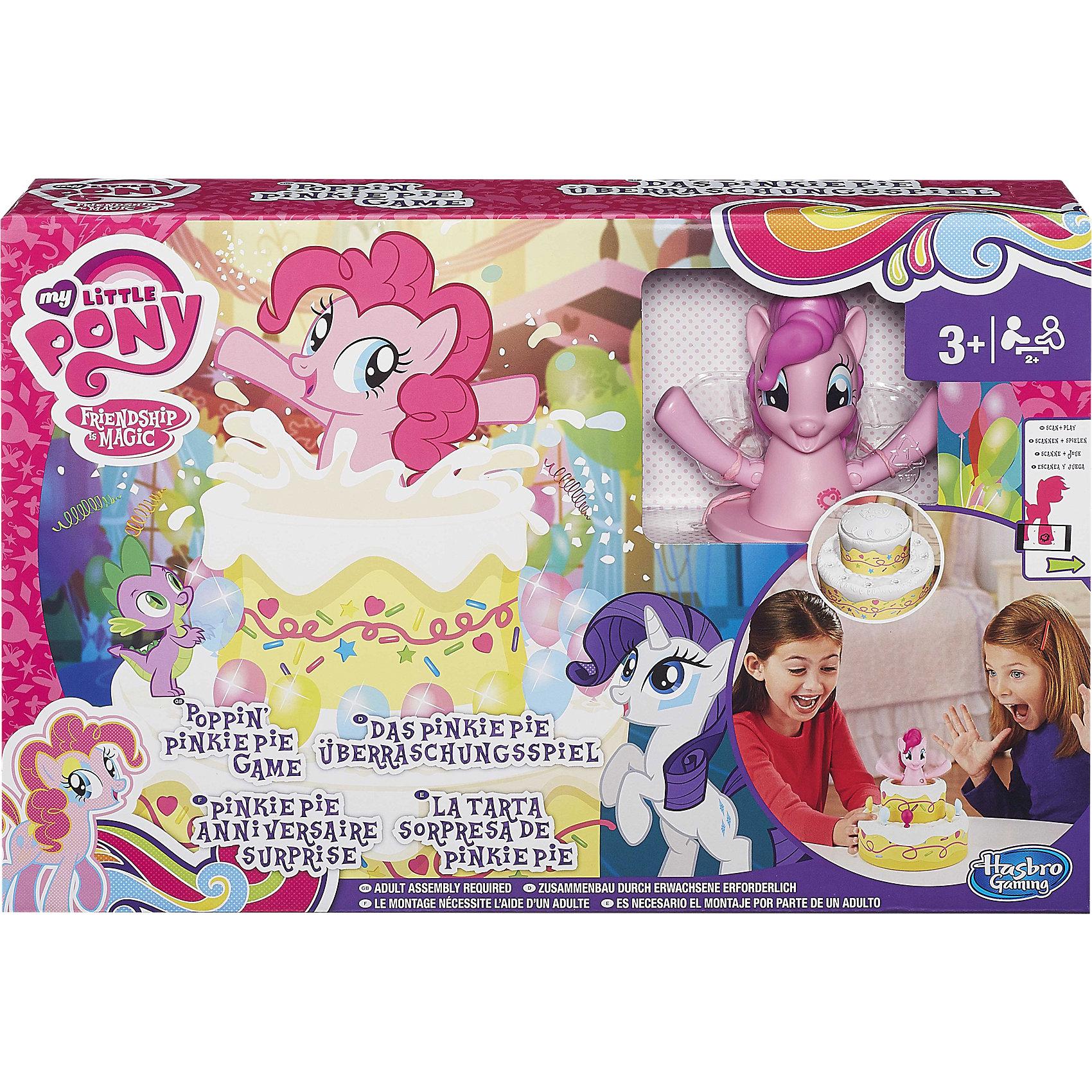 Игра Сюрприз Пинки Пай, My little Pony, HasbroИгры для развлечений<br>Новая увлекательная игра для поклонниц  бренда My Little Pony. Пони выскакивает из торта и играет музыка. Торт можно украшать аксессуарами, которые идут в комплекте.<br><br>Ширина мм: 405<br>Глубина мм: 271<br>Высота мм: 88<br>Вес г: 832<br>Возраст от месяцев: 36<br>Возраст до месяцев: 60<br>Пол: Женский<br>Возраст: Детский<br>SKU: 4156409