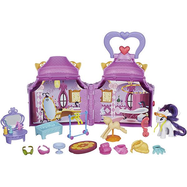 Набор Бутик Рарити, My little PonyИгрушки<br>Привлекательный Игровой набор Бутик Рарити, My little Pony станет любимой игрушкой Вашей девочки, ведь он позволит окунуться в сказочную атмосферу Понивилля и посетить магазинчик пони Рарити Карусель! Внешне игрушка похожа на небольшой круглый домик, но в нем поместились три помещения: спальня, спа-салон и прихожая! Меняются декорации движением руки. <br><br>Характеристики:<br><br>-В наборе более 20 аксессуаров, которыми можно обставлять комнаты<br>-У пони Рарити на ноге расположен QR-код  для открытия дополнительных игр в официальном приложении<br>-Набор компактен и легко транспортируется в собранном состоянии <br><br>Дополнительная информация:<br><br>-Материалы: пластмасса, картон, текстиль<br>-Высота фигурки пони: около 7,5 см<br>Игровой набор Бутик Рарити, My little Pony (Мой маленький Пони) можно купить в нашем магазине.<br>Ширина мм: 410; Глубина мм: 304; Высота мм: 81; Вес г: 849; Возраст от месяцев: 36; Возраст до месяцев: 60; Пол: Женский; Возраст: Детский; SKU: 4156422;