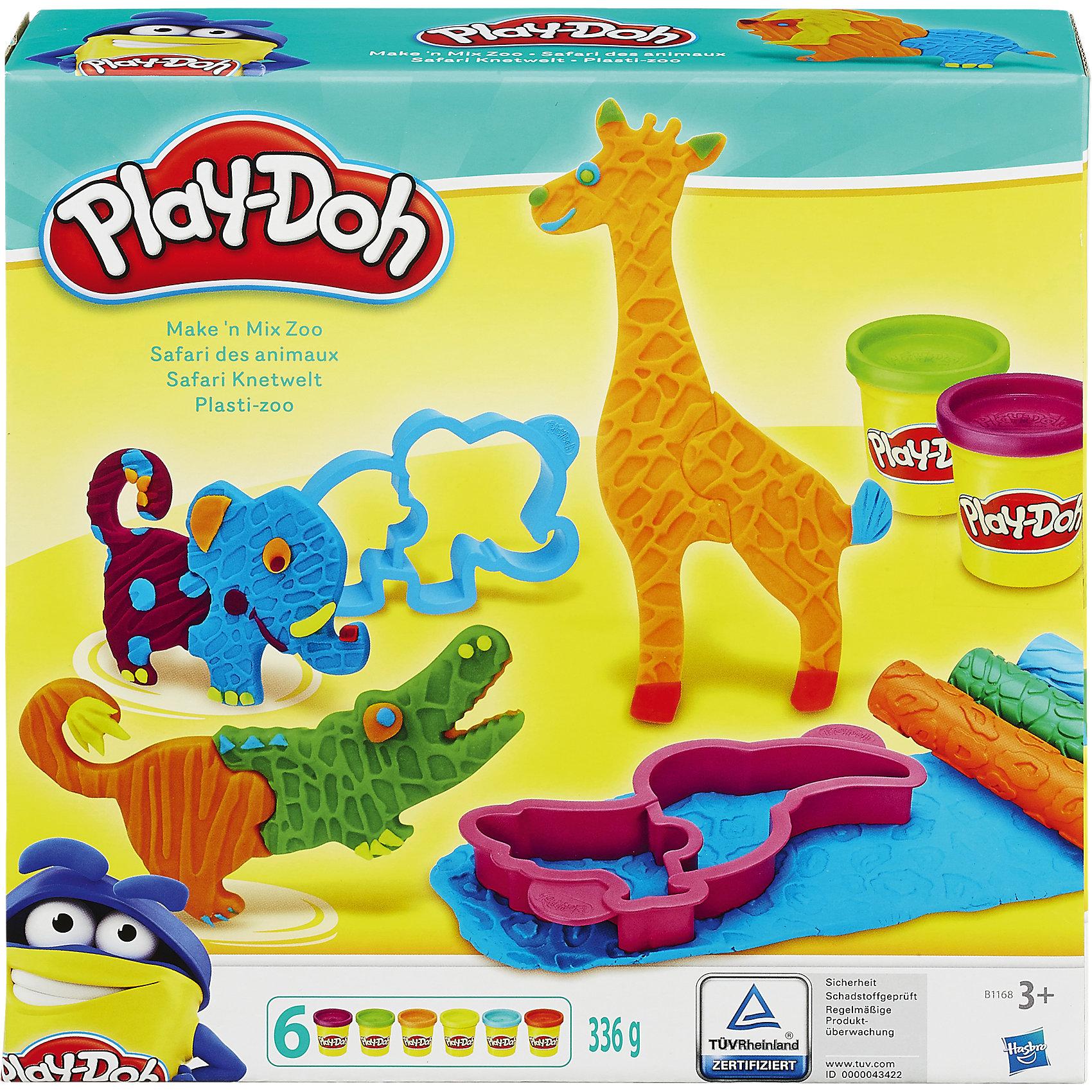 Игровой набор Веселое Сафари, Play-DohНаборы для лепки<br>Игровой набор Веселое Сафари, Play-Doh, вызовет восторг у всех маленьких любителей лепки. Ваш ребенок создаст свой собственный красочный зоопарк, населять который будут не только привычные обитатели африканской саванны но и самые невероятные животные, которых нет в природе. Входящие в набор формочки зверюшек имеют особую конструкцию с разделением головы и туловища животного. С их помощью можно вылепить хорошо знакомых всем льва, слона, крокодила, жирафа и других животных или придумывать новые фантастические существа, соединяя части тела разных животных по типу пазлов. Скалки с объемным рисунком, имитирующие кожу различных животных, придадут фигуркам особую реалистичность. Пластилин Play-Doh отличается высоким качеством, полностью безопасен для детей, не липнет к рукам и не пачкает одежду. Занятия лепкой развивают у ребенка фантазию, творческие способности и объемное воображение, тренируют координацию движений и мелкую моторику.<br><br>Дополнительная информация:<br><br>- В комплекте: 6 баночек пластилина, 6 формочек животных, 3 скалки с объемным рисунком, пластиковый нож.<br>- Материал: пластик, пластилин.<br>- Размер упаковки: 23 x 22,6 x 6 см.<br>- Вес: 0,481 кг.<br><br>Игровой набор Веселое Сафари, Play-Doh можно купить в нашем интернет-магазине.<br><br>Ширина мм: 232<br>Глубина мм: 226<br>Высота мм: 66<br>Вес г: 633<br>Возраст от месяцев: 36<br>Возраст до месяцев: 72<br>Пол: Унисекс<br>Возраст: Детский<br>SKU: 4156435