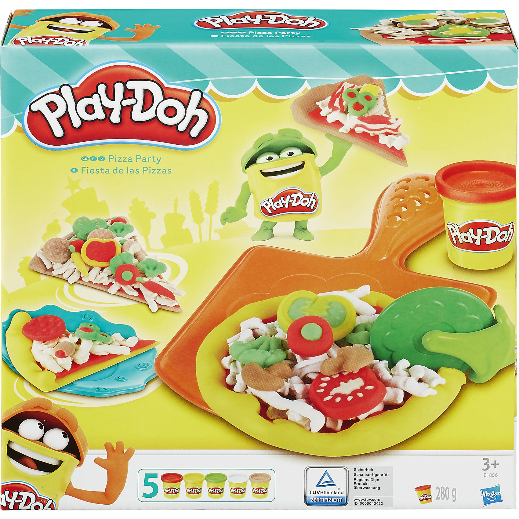 Игровой набор Пицца, Play-DohИгровой набор Пицца, Play-Doh - замечательный набор для игр и творчества, который не оставит равнодушным Вашего ребенка. Теперь он станет обладателем собственной маленькой пиццерии, где сможет изобретать и готовить множество новых видов пиццы и угощать своих друзей. Большое разнообразие аксессуаров, входящих в набор, открывают безграничный простор для фантазии. Раскатывайте роликом тесто для пиццы и выкладывайте на него тертый сыр и любимые начинки. Готовую пиццу можно уложить в специальную коробочку и отправить друзьям или тут же выложить на стол и разрезать ножом. Пластилин Play-Doh (Плей До) не липнет к рукам и поверхностям, легко собирается обратно в банку и быстро застывает. Чтобы пластилин стал снова мягким, его достаточно смочить водой, он приготовлен на растительной основе и полностью безопасен для детей. В комплекте входят форма для пиццы, полуформа для выпечки, коробка для пиццы, терка для сыра, ролик, вилка, нож, тарелка, нож для пиццы и 5 стандартных баночек Play-Doh. Занятия лепкой развивают у ребенка фантазию, творческие способности и объемное воображение, тренируют координацию движений и мелкую моторику.<br><br>Дополнительная информация:<br><br>- В комплекте: форма для пиццы, полуформа для выпечки, коробка для пиццы, терка для сыра, ролик, вилка, тарелка, пластиковый нож для пиццы, 5 баночек пластилина Play-Doh.<br>- Материал: пластик, пластилин.<br>- Размер упаковки: 23 x 23 x 6 см.<br>- Вес: 0,572 кг.<br><br>Игровой набор Пицца, Play-Doh, можно купить в нашем интернет-магазине.<br><br>Ширина мм: 233<br>Глубина мм: 228<br>Высота мм: 60<br>Вес г: 606<br>Возраст от месяцев: 36<br>Возраст до месяцев: 72<br>Пол: Унисекс<br>Возраст: Детский<br>SKU: 4156436