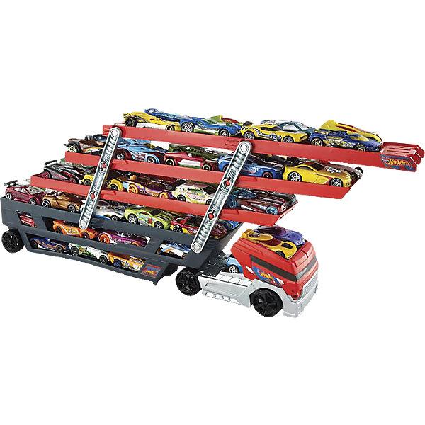 Мега тягачи, Hot WheelsМашинки<br>Мега тягачи, Hot Wheels (Хот Вилс)<br><br>Характеристики:<br><br>• 6 уровней<br>• верхние уровни можно поднимать<br>• вмещает более 50 машин<br>• масштаб: 1:30<br>• материал: пластик<br><br>Огромный тягач - прекрасный подарок для поклонников машинок Хот Вилс. Он имеет 6 уровней, которые вмещают в себя более 50 машинок. Верхние уровни и кабину можно поднять. А если присоединить оранжевый трек к верхнему уровню, то машинки будут съезжать прямо с тягача. С таким крепким тягачом самые любимые машинки всегда будут в безопасности!<br><br>Мега тягачи, Hot Wheels (Хот Вилс) можно купить в нашем интернет-магазине.<br><br>Ширина мм: 462<br>Глубина мм: 192<br>Высота мм: 93<br>Вес г: 680<br>Возраст от месяцев: 48<br>Возраст до месяцев: 96<br>Пол: Мужской<br>Возраст: Детский<br>SKU: 4157414
