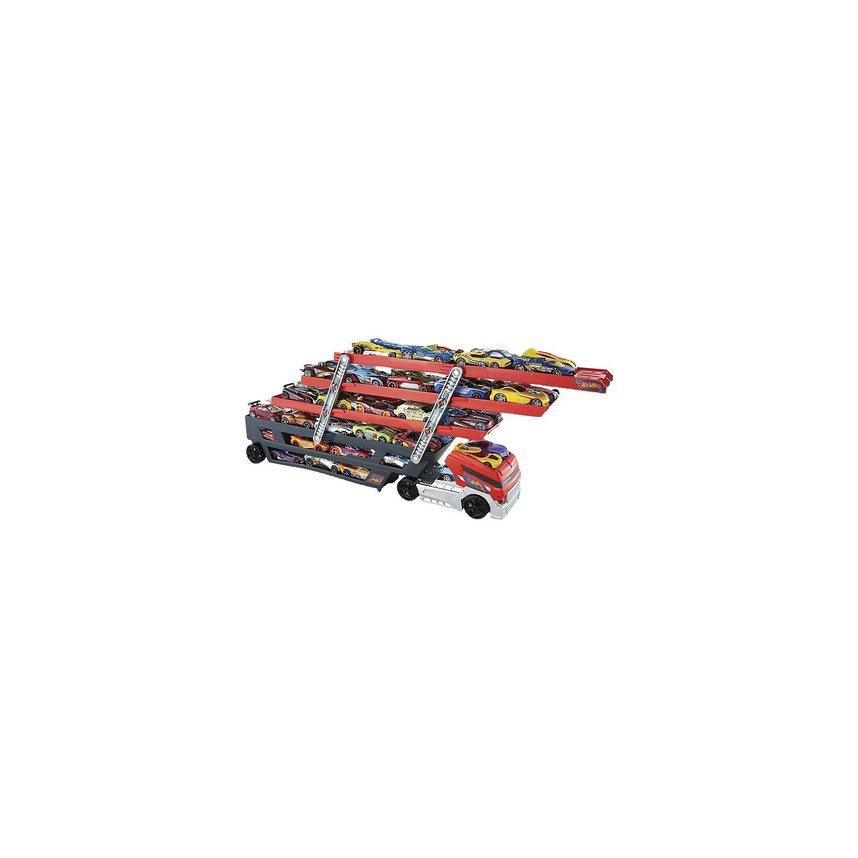 Мега тягачи, Hot WheelsПопулярные игрушки<br>Мега тягачи, Hot Wheels (Хот Вилс)<br><br>Характеристики:<br><br>• 6 уровней<br>• верхние уровни можно поднимать<br>• вмещает более 50 машин<br>• масштаб: 1:30<br>• материал: пластик<br><br>Огромный тягач - прекрасный подарок для поклонников машинок Хот Вилс. Он имеет 6 уровней, которые вмещают в себя более 50 машинок. Верхние уровни и кабину можно поднять. А если присоединить оранжевый трек к верхнему уровню, то машинки будут съезжать прямо с тягача. С таким крепким тягачом самые любимые машинки всегда будут в безопасности!<br><br>Мега тягачи, Hot Wheels (Хот Вилс) можно купить в нашем интернет-магазине.<br><br>Ширина мм: 462<br>Глубина мм: 192<br>Высота мм: 93<br>Вес г: 680<br>Возраст от месяцев: 48<br>Возраст до месяцев: 96<br>Пол: Мужской<br>Возраст: Детский<br>SKU: 4157414