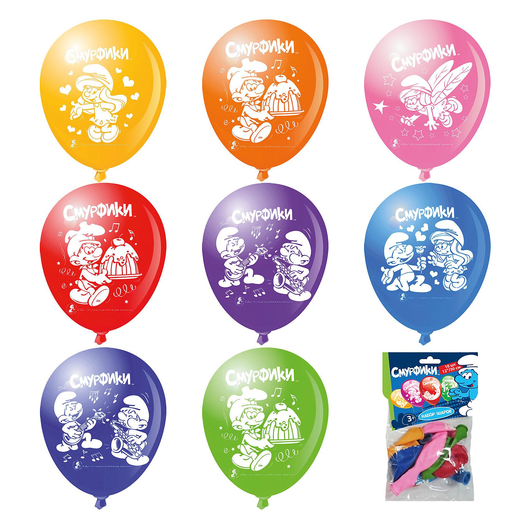 Набор шариков Смурфики (30 см, 10 шт), в ассортименте