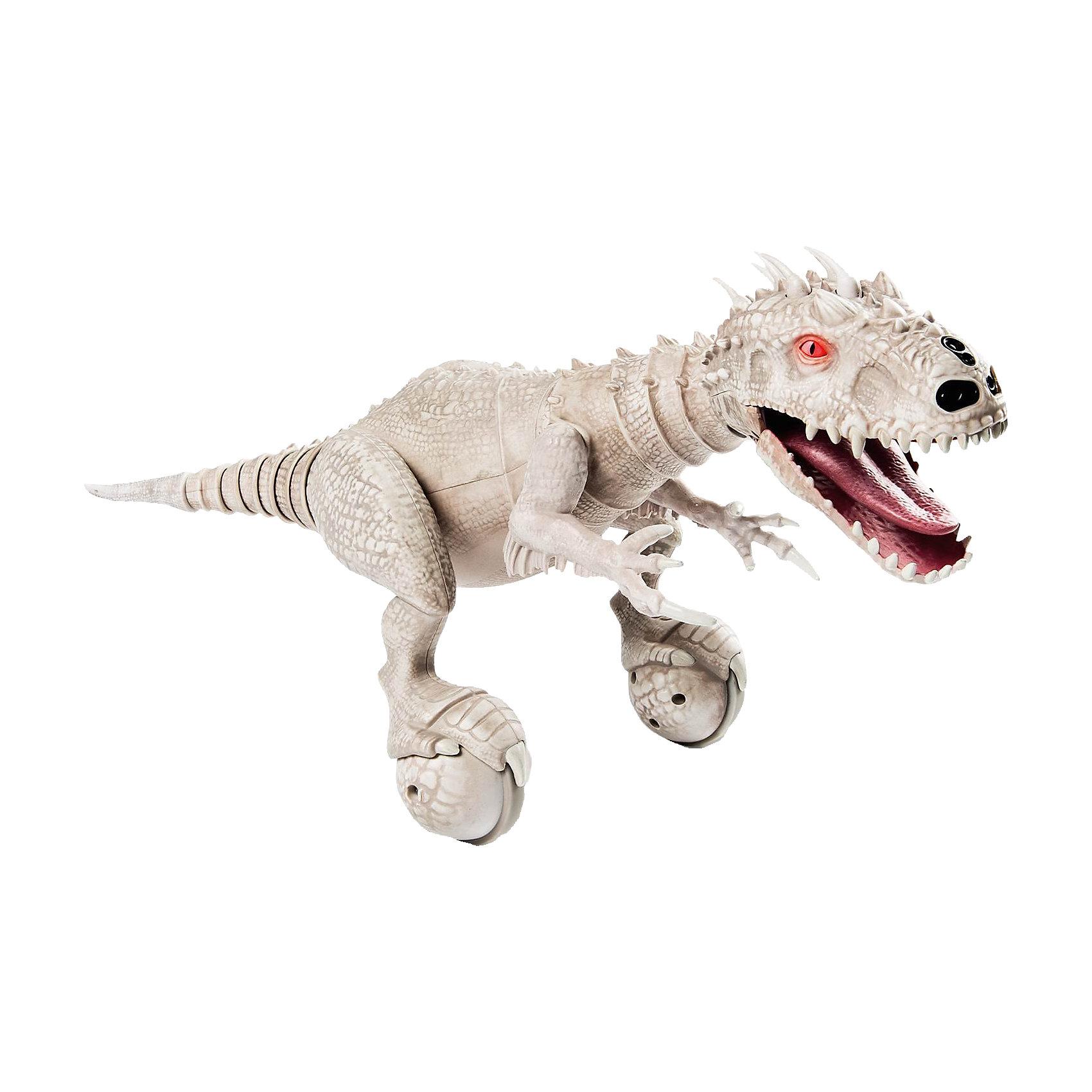 Динозавр интерактивный Парк юрского периода, Dino Zoomer, Spin MasterИнтерактивный динозавр Dino Zoomer (Дино Зумер) Парк юрского периода, Spin Master (Спин Мастер) - удивительная многофункциональная игрушка, которая вызовет восхищение у детей и взрослых. Грозный на вид, но очень дружелюбный динозаврик - настоящий домашний питомец, который не только обладает собственным характером, но и может выполнять разные команды. Игрушка может работать в двух режимах - автономном и при помощи пульта ДУ. В автономном режиме динозавр передвигается и принюхивается, изучая окружающий мир. Может злиться или радоваться и демонстрирует самое разное поведение, в зависимости от настроения. Когда динозаврик злится, он рычит, грызет и крушит все вокруг. Настроение Вашего питомца можно также определить по цвету его  глаз (например, голубые глаза - когда он дружелюбен, красные - сердитый). Если потянуть динозавра за хвост, он рассердится. Dino Zoomer издает разнообразные звуки как настоящий динозавр: рычит, довольно урчит, смеется, воспроизводит звуковые эффекты из фильма. А благодаря специальным сенсорам он даже определяет местоположение хозяина.<br>Его движения реалистичны, рот открывается, голова, ноги и хвост подвижны. Плавно передвигаясь на двух колесах, динозавр изучает территорию дома, принюхивается. Под звуки музыки Дино начинает забавно танцевать. В режиме управления с помощью жестов Вы можете отдавать команды своему питомцу, его можно заставить крутится вокруг своей оси, садиться на хвост. На спине имеется сенсорный датчик для выполнения трюков (при нажатии выполняет случайный трюк). Как любой домашний питомец динозаврик любит общаться со своим хозяином, в ответ урчит и смешно фыркает. В режиме ДУ динозаврик патрулирует заданную территорию, защищает ее и забавно атакует незваных гостей.<br><br>Дополнительная информация:<br>- Время игры: 20–30 минут, время зарядки - около 1 часа.<br>- В комплекте: робот-динозавр, USB кабель, пульт управления, инструкция.<br>- Материал: пластик.<br>