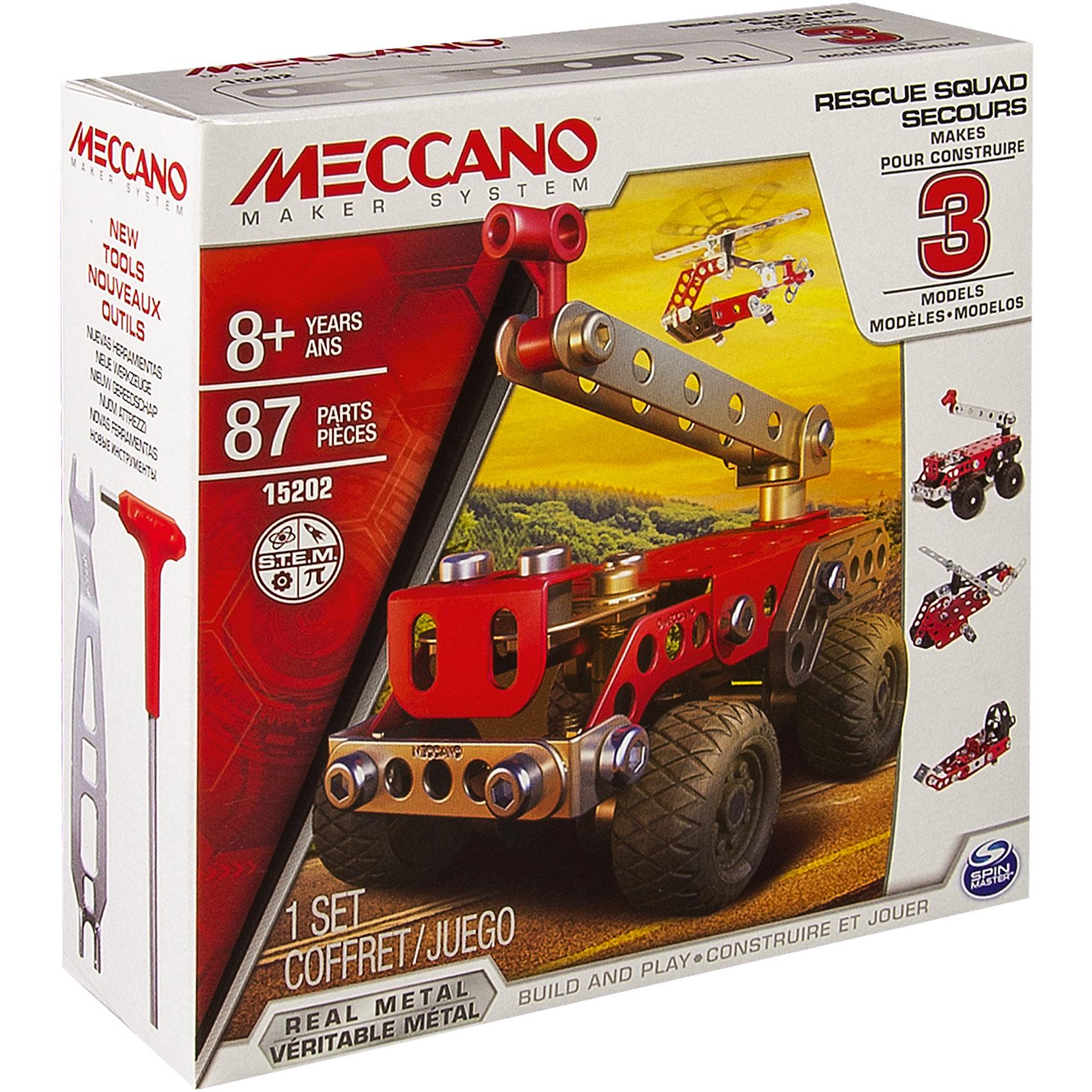 Техника службы спасения (3 модели), MeccanoТехника службы спасения (3 модели), Meccano (Меккано) несомненно, порадует поклонников классических конструкторов, собираемых с помощью винтиков и шайбочек! В наборе есть все необходимые инструменты и детали для сборки 3 различных моделей спасательной техники: пожарной машины, вертолета или катера.<br><br>Характеристики:<br>-Части детально проработаны<br>-Детали отлиты из высококачественного сплава, отсутствуют заусенцы и острые грани<br>-Развивает: навыки инженерного мышления, мелкую моторику, комбинаторные навыки, логику, усидчивость<br>-Резиновые покрышки на колесах для придания модели реалистичности<br><br>Комплектация: 87 деталей, инструменты, инструкция<br><br>Дополнительная информация:<br>-Количество деталей: 87<br>-Вес в упаковке: 1,25 кг<br>-Размеры в упаковке: 15х5х15 см<br>-Материалы: пластик, металл, резина <br>-Размер основной модели: 10х6 см<br><br>Яркий набор Техника службы спасения (3 модели) – отличный подарок для школьника, который любит проектирование, строительство и различные механизмы!<br><br>Техника службы спасения (3 модели), Meccano (Меккано) можно купить в нашем магазине.<br><br>Ширина мм: 154<br>Глубина мм: 151<br>Высота мм: 53<br>Вес г: 194<br>Возраст от месяцев: 36<br>Возраст до месяцев: 96<br>Пол: Мужской<br>Возраст: Детский<br>SKU: 4158551