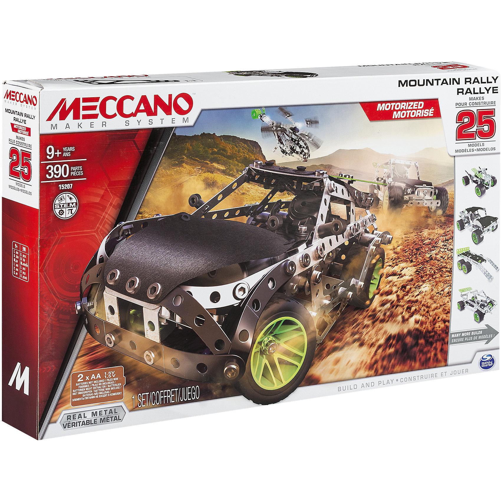 Раллийная машина с мотором (25 моделей), MeccanoМеталлические конструкторы<br>В наборе Раллийная машина с мотором (25 моделей), Meccano (Меккано) 323 элементов с функциональными деталями: мягкие панели на корпусе, рулевое управление и настоящий двигатель. Из конструктора можно собрать 25 разнообразных моделей техники (различные спорткары, вертолет, бульдозер, луноход и др.). В комплекте есть мотор, который можно включить, и машина поедет!<br><br>Характеристики:<br>-Части детально проработаны<br>-Детали отлиты из высококачественного сплава, отсутствуют заусенцы и острые грани<br>-Развивает: навыки инженерного мышления, мелкую моторику, комбинаторные навыки, логику, усидчивость<br>-Колеса поворачивают влево-вправо<br><br>Комплектация: 323 детали, в т. ч. рулевое управление, подвеска, колеса с резиновыми покрышками, мотор, мягкие панели и др., инструкция<br><br>Дополнительная информация:<br>-Количество деталей: 323<br>-Вес в упаковке: 4,3 кг<br>-Размеры в упаковке: 25x45x6 см<br>-Материалы: металл, пластик, резина<br>-Размер основной модели: 24х12 см<br>-Питание: 2 батарейки типа АА (в комплект НЕ входят)<br><br>Яркий набор Раллийная машина с мотором (25 моделей), доставит удовольствие юным техникам!<br><br>Раллийная машина с мотором (25 моделей), Meccano (Меккано) можно купить в нашем магазине.<br><br>Ширина мм: 405<br>Глубина мм: 251<br>Высота мм: 68<br>Вес г: 991<br>Возраст от месяцев: 108<br>Возраст до месяцев: 168<br>Пол: Мужской<br>Возраст: Детский<br>SKU: 4158556