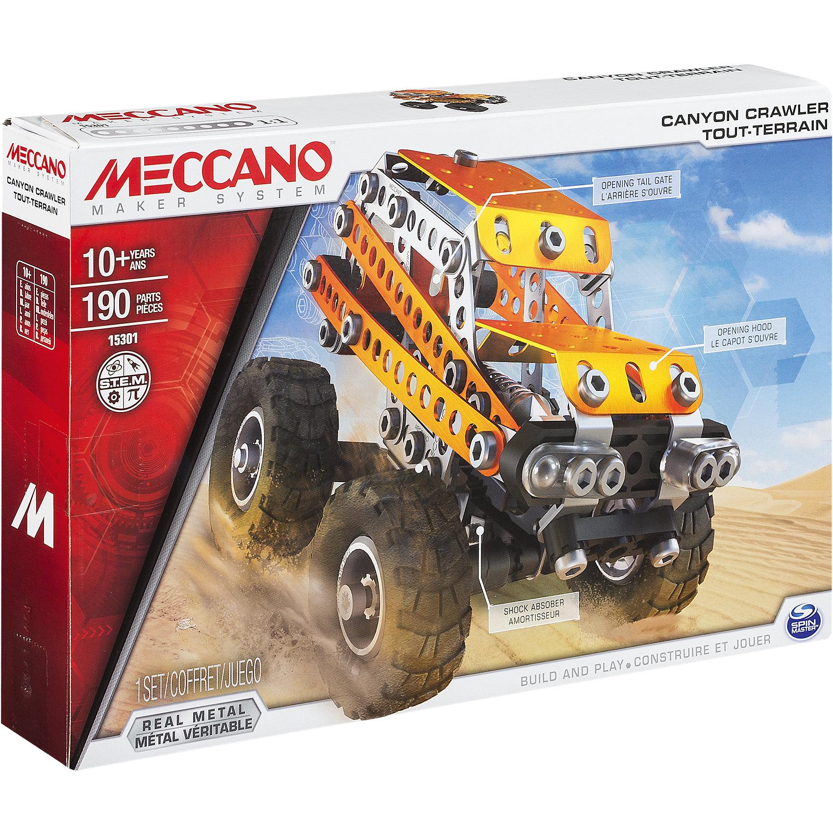 Внедорожник (2 модели), MeccanoЗамечательный набор конструктора Внедорожник (2 модели), Meccano (Меккано), несомненно, порадует поклонников классических конструкторов, собираемых с помощью винтиков и шайбочек! Базовая модель этого набора – джип-внедорожник с большими колесами, который перестраивается в грузовик. Основные детали представляют собой металлические пластины с отверстиями, которые соединяются при помощи болтов, но также в набор входят подвижные элементы – широкие резиновые колеса и части подвески. <br><br>Характеристики:<br>-Части детально проработаны<br>-Детали отлиты из высококачественного сплава, отсутствуют заусенцы и острые грани<br>-Развивает: навыки инженерного мышления, мелкую моторику, комбинаторные навыки, логику, усидчивость<br>-Работающая подвеска, открывающаяся задняя дверь, откидывающийся верх<br>-Детали обшивки стильного цвета – оранжевый металлик<br><br>Комплектация: 190 деталей, инструменты (отвертка, гаечный ключ), схема сборки<br><br>Дополнительная информация:<br>-Количество деталей: 190<br>-Вес в упаковке: 2,1 кг<br>-Размеры в упаковке: 18х25х5 см<br>-Материалы: пластик, металл, резина <br>-Размер основной модели: 12х9х9 см<br><br>Яркий металлический набор Внедорожник (2 модели), Meccano (Меккано) – отличный подарок для школьника, который любит проектирование, строительство и различные механизмы!<br><br>Внедорожник (2 модели), Meccano (Меккано) можно купить в нашем магазине.<br><br>Ширина мм: 300<br>Глубина мм: 205<br>Высота мм: 53<br>Вес г: 455<br>Возраст от месяцев: 120<br>Возраст до месяцев: 180<br>Пол: Мужской<br>Возраст: Детский<br>SKU: 4158559