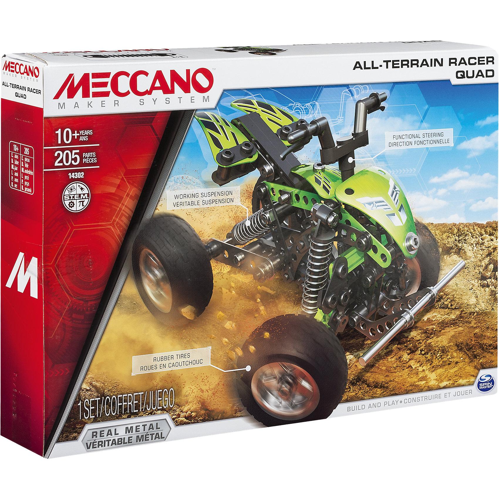 Квадроцикл (2 модели), MeccanoИз набора конструктора Квадроцикл (2 модели), Meccano (Меккано) можно собрать одну из двух моделей колесной техники –  квадроцикл или трехколесный мотоцикл для города. Модели оснащены подвеской, рулевым управлением и амортизаторами.<br><br>Характеристики:<br>-Части детально проработаны<br>-Детали отлиты из высококачественного сплава, отсутствуют заусенцы и острые грани<br>-Развивает: навыки инженерного мышления, мелкую моторику, комбинаторные навыки, логику, усидчивость<br>-Подвижные детали: резиновые колеса вращаются, рулевое управление, а пружины подвески действуют как рессоры<br><br>Комплектация: 205 деталей конструктора, наклейки, инструменты, инструкция<br><br>Дополнительная информация:<br>-Количество деталей: 205<br>-Вес в упаковке: 2,9 кг<br>-Размеры в упаковке: 25x35x6 см<br>-Материалы: металл, пластик, резина, бумага<br>-Размер основной модели: 17х14 см<br><br>Яркий металлический набор Квадроцикл (2 модели) – отличный подарок для школьника, который любит проектирование, строительство и различные механизмы!<br><br>Квадроцикл (2 модели), Meccano (Меккано) можно купить в нашем магазине.<br><br>Ширина мм: 355<br>Глубина мм: 251<br>Высота мм: 65<br>Вес г: 628<br>Возраст от месяцев: 120<br>Возраст до месяцев: 180<br>Пол: Мужской<br>Возраст: Детский<br>SKU: 4158560