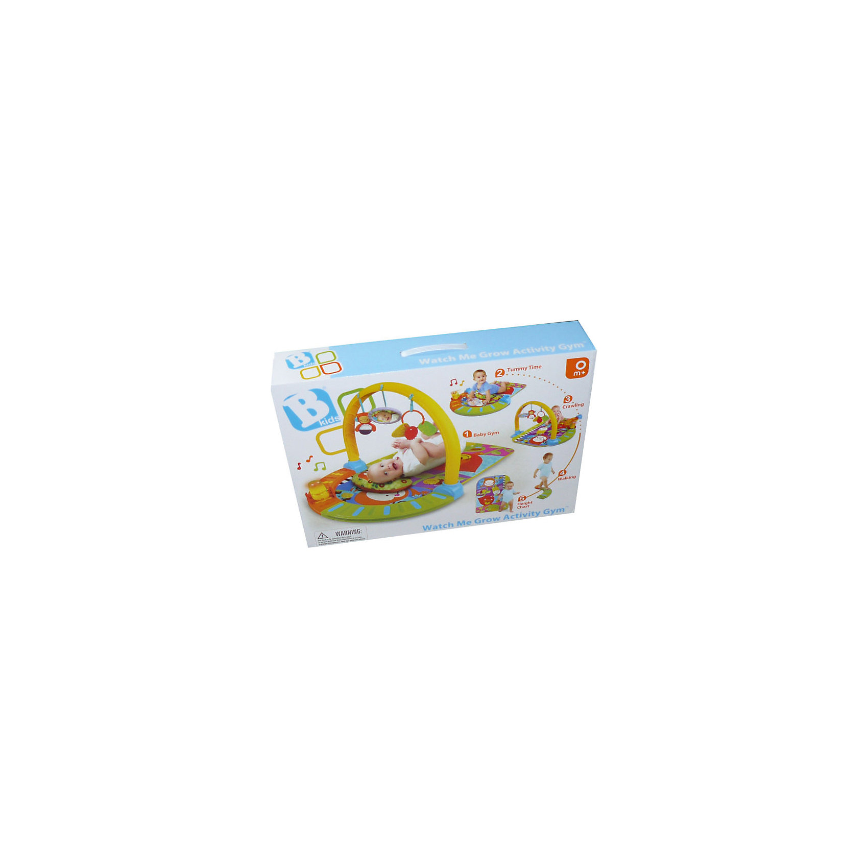 Развивающий коврик с эффектами, BkidsИгрушки для малышей<br>Развивающий коврик с эффектами, Bkids (Б Кидс) - универсальная игрушка для самых маленьких. Коврик предполагает 5 возможностей использования с учетом возраста ребенка.<br><br>Особенности:<br>- лежа на спине малыш сможет рассматривать и хватать игрушки, подвешенные на дуге<br>- лежа на животе малыш сможет следить за двигающейся гусеницей со звуковыми и световыми эффектами<br>- сидя кроха сможет изучить все цвета, картинки и игрушки коврика<br>- малыш может повторить путешествие гусеницы, ползая по дорожке<br>- вы может измерить рост крохи с помощью ростомера на коврике (до 70 см)<br><br>Дополнительная информация:<br>В комплекте: коврик, дуга, съемная дорожка для гусеницы, гусеница, подушечка, игрушки(прорезыватель, безопасное зеркало и погремушка)<br>Батарейки: ААА - 3шт. (в комплект не входят)<br>Размер упаковки: 60,9х10,8х44,4 см<br><br>Вы можете приобрести развивающий коврик с эффектами, Bkids (Б Кидс) в нашем интернет-магазине.<br><br>Ширина мм: 637<br>Глубина мм: 475<br>Высота мм: 130<br>Вес г: 2385<br>Возраст от месяцев: 0<br>Возраст до месяцев: 12<br>Пол: Унисекс<br>Возраст: Детский<br>SKU: 4159840