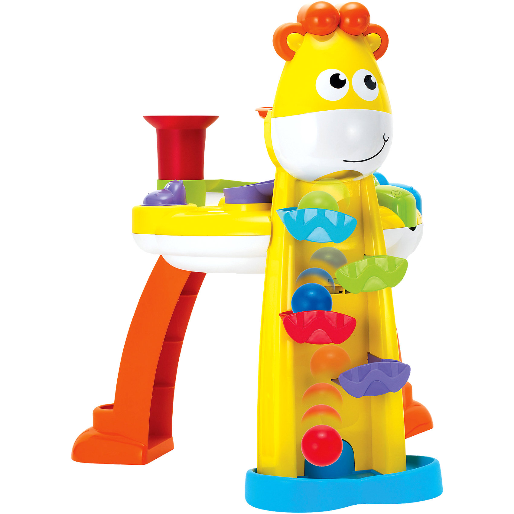 Игровой набор Веселый жираф, BkidsИгровой набор Веселый жираф, Bkids (Б Кидс) - интерактивная игрушка по принципу развивающего столика. Набор представляет собой стол в виде жирафа и пластиковые шарики. Передвижение шариков будет еще интереснее благодаря различным воронкам, дорожкам и мельнице. После включения интерактивного режима шарики будут подскакивать, скатываться по горкам, оказываться в воронках или пасти бегемота. Игра сопровождается световыми и звуковыми эффектами. Яркая веселая игрушка обязательно должна быть у любознательной крохи.<br><br>Дополнительная информация:<br>Батарейки: АА - 3шт. (В комплект не входят)<br>Размер столика: 60х45х45 см<br>Размер упаковки: 61х17,5х44х5 см<br>Вес: 3 кг<br><br>Вы можете приобрести игровой набор Веселый жираф, Bkids (Б Кидс) в нашем интернет-магазине.<br><br>Ширина мм: 633<br>Глубина мм: 479<br>Высота мм: 199<br>Вес г: 3369<br>Возраст от месяцев: 12<br>Возраст до месяцев: 36<br>Пол: Унисекс<br>Возраст: Детский<br>SKU: 4159842