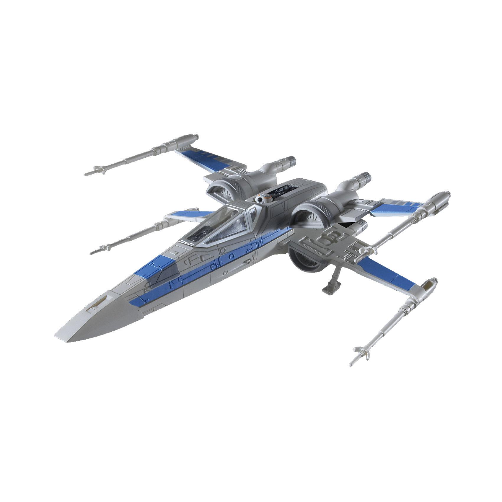 Сборная модель Звездные войны  «Истребитель Х-Wing» (1:78.), Собери и играйМодели для склеивания<br>Сборная модель Звездные войны  «Истребитель Х-Wing», Собери и играй, является точной копией истребителя из фильма Звездные войны. Корпус самолета имеет интересный дизайн и очень детализирован. Белый самолет с серыми и голубыми вставками не сможет оставить без внимания мальчика. Истребитель имеет внешние ракетные установки.  Собирая данную модель, юный конструктор очутиться в мире фантастических приключений космоса. Собранный истребитель обладает световыми и звуковыми эффектами.   <br>Модель истребителя выполнена в масштабе 1:78.  <br>Количество элементов: 18.  <br>Сборная модель продается в красочной коробке из плотного картона.  <br>Рекомендуемый возраст: от 6 лет.<br><br>Ширина мм: 245<br>Глубина мм: 172<br>Высота мм: 78<br>Вес г: 220<br>Возраст от месяцев: 72<br>Возраст до месяцев: 144<br>Пол: Мужской<br>Возраст: Детский<br>SKU: 4161724