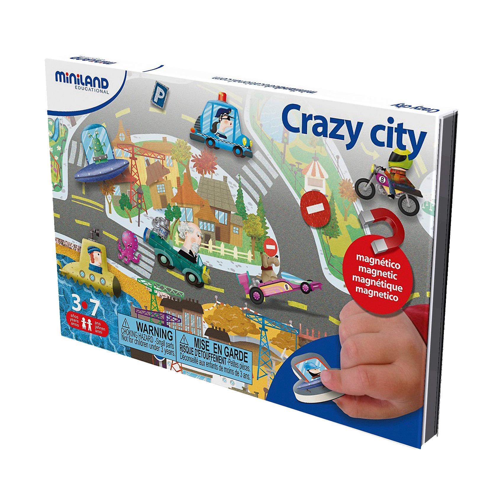 Магнитная игра Сумасшедший город, MinilandМагнитная игра Сумасшедший город, Miniland (Миниленд) – эта игра надолго увлечет вашего малыша и не позволит ему скучать.<br>В этой забавной игре ребенок должен собрать картинку с изображением городской улицы. На одной стороне магнитной доски - задание. Игрок внимательно смотрит и запоминает картинку, потом переворачивает доску и создает свою картинку по памяти. Кроме основного задания, можно самостоятельно создавать свои городские пейзажи. Полезная игра, поможет в тренировке внимания, памяти и наблюдательности.<br><br>Дополнительная информация:<br><br>- В наборе: магнитная доска, элементы для сборки<br>- Размер магнитной доски: 21,5 х 44 см.<br>- Материал: картон<br><br>Магнитную игру Сумасшедший город, Miniland (Миниленд) можно купить в нашем интернет-магазине.<br><br>Ширина мм: 225<br>Глубина мм: 144<br>Высота мм: 12<br>Вес г: 289<br>Возраст от месяцев: 36<br>Возраст до месяцев: 72<br>Пол: Унисекс<br>Возраст: Детский<br>SKU: 4162027