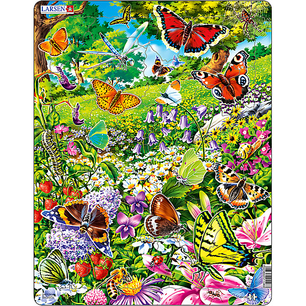 Пазл Бабочки, 42 детали, LarsenПазлы для малышей<br>Пазл Бабочки, 42 детали, Larsen (Ларсен) – это высококачественный обучающий пазл-рамка.<br>Яркий красивый пазл-рамка Бабочки – это пазл на котором изображены великолепные бабочки. Когда ребенок соберет пазл целиком, он сможет подробно рассмотреть бабочек с радужными крыльями, порхающих на цветочной полянке. Пазл имеет специальную рамку с подложкой, на которой выдавлены контуры деталей, что облегчит процесс сборки. Детали пазла изготовлены из высококачественного плотного трехслойного картона. Они не деформируются, хорошо сцепляются друг с другом, не расслаиваются. Рисунок не стирается. Занятия по сборке пазла развивают образное и логическое мышление, пространственное воображение, память, внимание, усидчивость, координацию движений и мелкую моторику.<br><br>Дополнительная информация:<br><br>- Количество деталей: 42<br>- Размер собранной картинки: 36,5х28,5 см.<br>- Материал: плотный трехслойный картон<br>- Размер упаковки: 36,5х0,5х28,5 см.<br><br>Пазл Бабочки, 42 детали, Larsen (Ларсен) можно купить в нашем интернет-магазине.<br><br>Ширина мм: 367<br>Глубина мм: 286<br>Высота мм: 7<br>Вес г: 319<br>Возраст от месяцев: 48<br>Возраст до месяцев: 72<br>Пол: Унисекс<br>Возраст: Детский<br>Количество деталей: 42<br>SKU: 4162621
