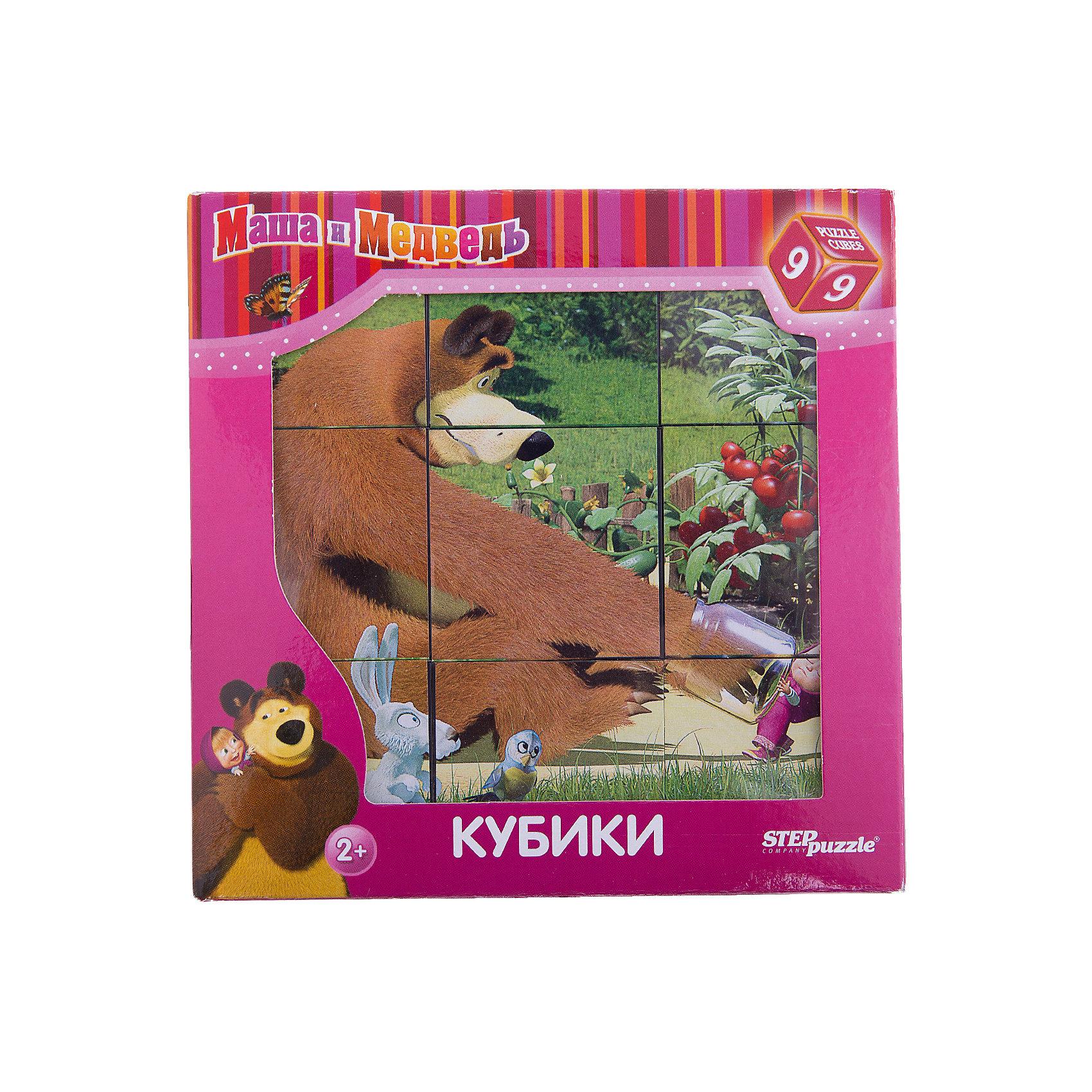 Степ Пазл Кубики Маша и Медведь, 9 шт., Step puzzle