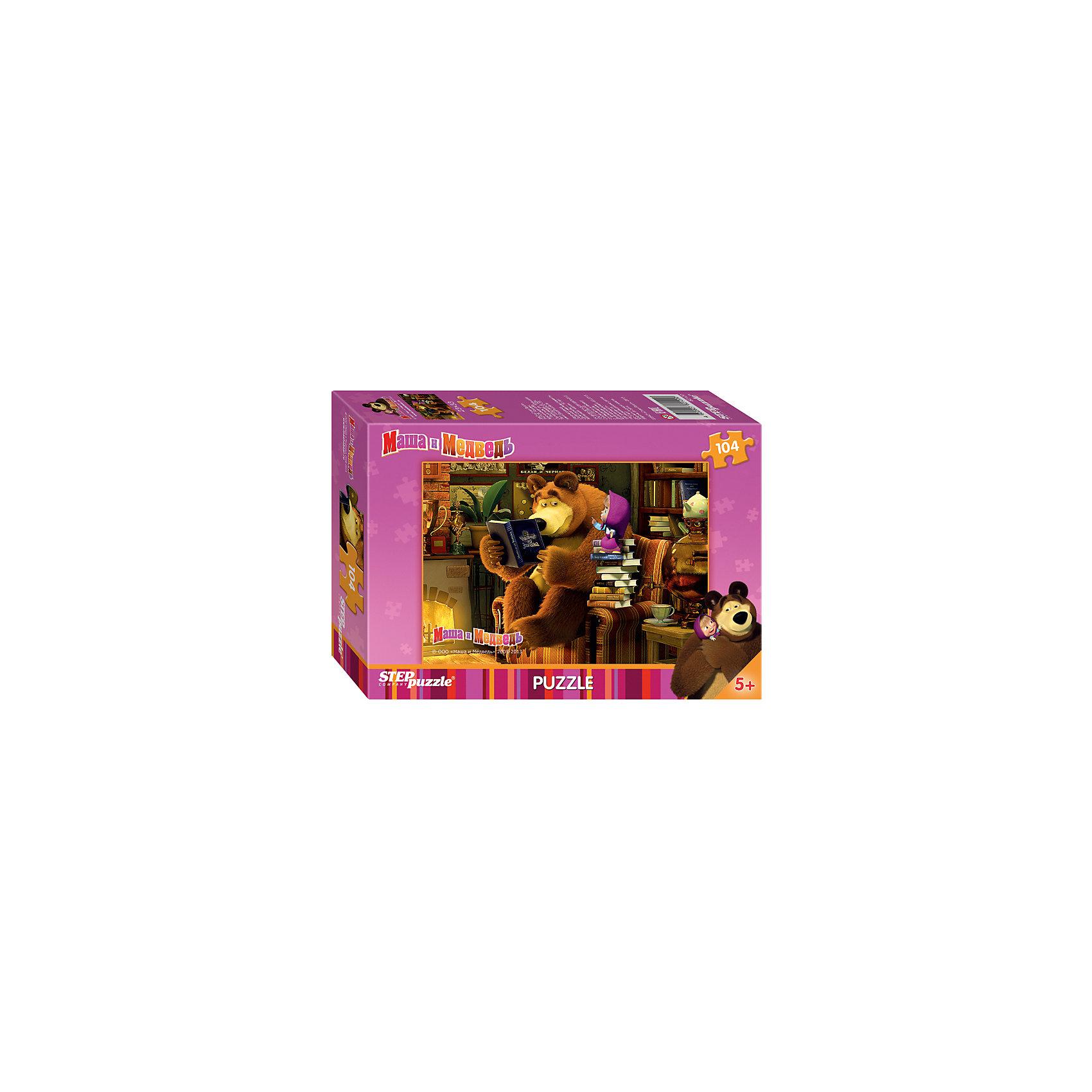 Пазл Маша и Медведь, 104 детали, Step PuzzleКлассические пазлы<br>Пазл Маша и Медведь, 104 детали, Step Puzzle (Степ Пазл) – это замечательный красочный пазл с изображением любимых героев.<br>Озорная Маша и добрый Медведь приглашают принять участие в волшебных приключениях. Подарите ребенку чудесный пазл Маша и Медведь, и он будет увлеченно подбирать детали, пока не составит яркую и интересную картинку, на которой уставший Медведь читает Маше сказку, а та все не собирается ложиться спать, требуя продолжения, несмотря на то, что они уже перечитали, целую стопку книг. Сборка пазла Маша и Медведь от Step Puzzle (Степ Пазл) подарит Вашему ребенку не только множество увлекательных вечеров, но и принесет пользу для развития. Координация, моторика, внимательность легко тренируются, пока ребенок увлеченно подбирает детали. Качественные фрагменты пазла отлично проклеены и идеально подходят один к другому, поэтому сборка пазла обеспечит малышу только положительные эмоции. Вы будете использовать этот пазл не один год, ведь благодаря качественной нарезке детали не расслаиваются даже после многократного использования.<br><br>Дополнительная информация:<br><br>- Количество деталей: 104<br>- Материал: картон<br>- Размер собранной картинки: 33х23 см.<br>- Особенно понравится поклонникам мультсериала Маша и Медведь<br>- Отличная проклейка<br>- Долгий срок службы<br>- Детали идеально подходят друг другу<br>- Яркий сюжет<br>- Упаковка: картонная коробка<br>- Размер упаковки: 140x196x36 мм.<br>- Вес: 106 гр.<br><br>Пазл Маша и Медведь, 104 детали, Step Puzzle (Степ Пазл) можно купить в нашем интернет-магазине.<br><br>Ширина мм: 20<br>Глубина мм: 14<br>Высота мм: 4<br>Вес г: 150<br>Возраст от месяцев: 60<br>Возраст до месяцев: 96<br>Пол: Унисекс<br>Возраст: Детский<br>Количество деталей: 104<br>SKU: 4162740
