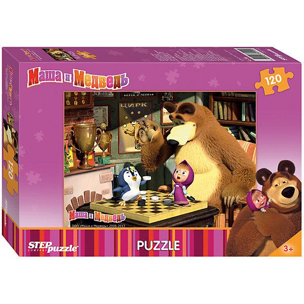 Пазл Маша и Медведь, 120 деталей, Step PuzzleПазлы классические<br>Пазл Маша и Медведь, 120 деталей, Step Puzzle (Степ Пазл) – это замечательный красочный пазл с изображением любимых героев.<br>Озорная Маша и добрый Медведь приглашают принять участие в волшебных приключениях. Подарите ребенку чудесный пазл Маша и Медведь, и он будет увлеченно подбирать детали, пока не составит яркую и интересную картинку, на которой Медведь играет в шашки, а Маша и Пингвинёнок ему мешают. Сборка пазла Маша и Медведь от Step Puzzle (Степ Пазл) подарит Вашему ребенку не только множество увлекательных вечеров, но и принесет пользу для развития. Координация, моторика, внимательность легко тренируются, пока ребенок увлеченно подбирает детали. Качественные фрагменты пазла отлично проклеены и идеально подходят один к другому, поэтому сборка пазла обеспечит малышу только положительные эмоции. Вы будете использовать этот пазл не один год, ведь благодаря качественной нарезке детали не расслаиваются даже после многократного использования.<br><br>Дополнительная информация:<br><br>- Количество деталей: 120<br>- Материал: картон<br>- Размер собранной картинки: 23х16,5 см.<br>- Особенно понравится поклонникам мультсериала Маша и Медведь<br>- Отличная проклейка<br>- Долгий срок службы<br>- Детали идеально подходят друг другу<br>- Яркий сюжет<br>- Упаковка: картонная коробка<br>- Размер упаковки: 125x180x25 мм.<br>- Вес: 56 гр.<br><br>Пазл Маша и Медведь, 120 деталей, Step Puzzle (Степ Пазл) можно купить в нашем интернет-магазине.<br>Ширина мм: 18; Глубина мм: 13; Высота мм: 4; Вес г: 74; Возраст от месяцев: 36; Возраст до месяцев: 72; Пол: Унисекс; Возраст: Детский; Количество деталей: 120; SKU: 4162741;