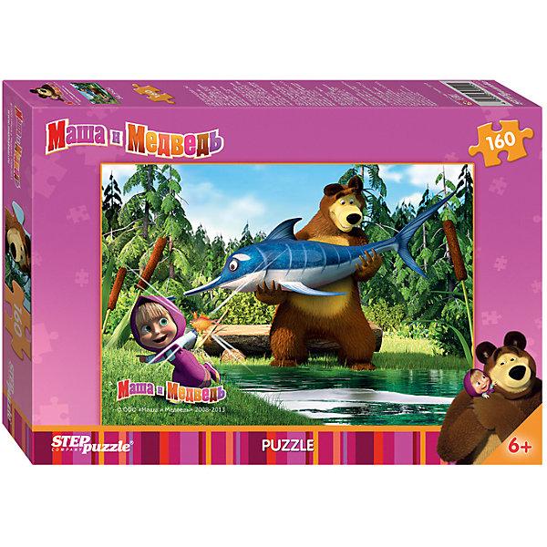 Пазл Маша и Медведь, 160 деталей, Step PuzzleПазлы классические<br>Пазл Маша и Медведь, 160 деталей, Step Puzzle (Степ Пазл) – это замечательный красочный пазл с изображением любимых героев.<br>Озорная Маша и добрый Медведь приглашают принять участие в волшебных приключениях. Подарите ребенку чудесный пазл Маша и Медведь, и он будет увлеченно подбирать детали, пока не составит яркую и интересную картинку, на которой Медведь поймал огромную рыбу, а Маша - золотую рыбку. Сборка пазла Маша и Медведь от Step Puzzle (Степ Пазл) подарит Вашему ребенку не только множество увлекательных вечеров, но и принесет пользу для развития. Координация, моторика, внимательность легко тренируются, пока ребенок увлеченно подбирает детали. Качественные фрагменты пазла отлично проклеены и идеально подходят один к другому, поэтому сборка пазла обеспечит малышу только положительные эмоции. Вы будете использовать этот пазл не один год, ведь благодаря качественной нарезке детали не расслаиваются даже после многократного использования.<br><br>Дополнительная информация:<br><br>- Количество деталей: 160<br>- Материал: картон<br>- Размер собранной картинки: 34,5х24 см.<br>- Особенно понравится поклонникам мультсериала Маша и Медведь<br>- Отличная проклейка<br>- Долгий срок службы<br>- Детали идеально подходят друг другу<br>- Яркий сюжет<br>- Упаковка: картонная коробка<br>- Размер упаковки: 194x279x33 мм.<br>- Вес: 148 гр.<br><br>Пазл Маша и Медведь, 160 деталей, Step Puzzle (Степ Пазл) можно купить в нашем интернет-магазине.<br>Ширина мм: 28; Глубина мм: 20; Высота мм: 4; Вес г: 229; Возраст от месяцев: 72; Возраст до месяцев: 108; Пол: Унисекс; Возраст: Детский; Количество деталей: 160; SKU: 4162742;