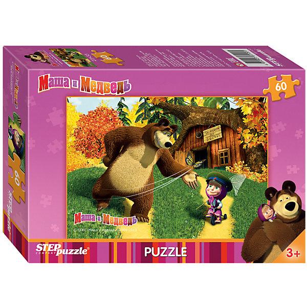 Пазл Маша и Медведь, 60 деталей, Step PuzzleПазлы для малышей<br>Пазл Маша и Медведь, 60 деталей, Step Puzzle (Степ Пазл) – это замечательный красочный пазл с изображением любимых героев.<br>Озорная Маша и добрый Медведь приглашают принять участие в волшебных приключениях. Подарите ребенку чудесный пазл Маша и Медведь, и он будет увлеченно подбирать детали, пока не составит яркую и интересную картинку, на которой Маша, едет на велосипеде с сочком в руках в фуражке пограничника, подаренной Медведем. Сборка пазла Маша и Медведь от Step Puzzle (Степ Пазл) подарит Вашему ребенку не только множество увлекательных вечеров, но и принесет пользу для развития. Координация, моторика, внимательность легко тренируются, пока ребенок увлеченно подбирает детали. Качественные фрагменты пазла отлично проклеены и идеально подходят один к другому, поэтому сборка пазла обеспечит малышу только положительные эмоции. Вы будете использовать этот пазл не один год, ведь благодаря качественной нарезке детали не расслаиваются даже после многократного использования.<br><br>Дополнительная информация:<br><br>- Количество деталей: 60<br>- Материал: картон<br>- Размер собранной картинки: 33х23 см.<br>- Особенно понравится поклонникам мультсериала Маша и Медведь<br>- Отличная проклейка<br>- Долгий срок службы<br>- Детали идеально подходят друг другу<br>- Яркий сюжет<br>- Упаковка: картонная коробка<br>- Размер упаковки: 140x195x36 мм.<br>- Вес: 106 гр.<br><br>Пазл Маша и Медведь, 60 деталей, Step Puzzle (Степ Пазл) можно купить в нашем интернет-магазине.<br><br>Ширина мм: 20<br>Глубина мм: 14<br>Высота мм: 4<br>Вес г: 150<br>Возраст от месяцев: 36<br>Возраст до месяцев: 72<br>Пол: Унисекс<br>Возраст: Детский<br>Количество деталей: 60<br>SKU: 4162747