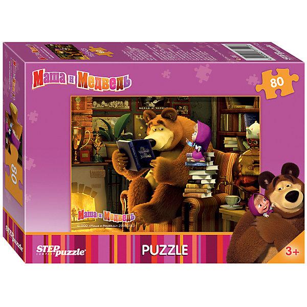Пазл Маша и Медведь, 80 деталей, Step puzzleМаша и Медведь<br>Дети обожают мультсериал Маша и Медведь! Но долго смотреть мультфильмы нельзя, а расставаться с озорницей Машей так не хочется! Подарите малышу чудесный пазл Маша и Медведь и ребенок будет увлеченно подбирать детали, пока не составит яркую и интересную картинку. Серия про фокус-покус красочная и очень интересная. Сборка пазла Маша и Медведь от Степ Пазл подарит Вашему малышу не только множество увлекательных вечеров, но и принесет пользу для развития. Координация, моторика, внимательность легко тренируются пока ребенок увлеченно подбирает детальки одна к другой. Качественные фрагменты пазла отлично проклеены и идеально подходят один к другому, поэтому сборка пазла обеспечит малышу только положительные эмоции. Вы будете использовать этот пазл не один год, ведь благодаря качественной нарезке детали не расслаиваются даже после многократного использования. Закончив работу Вы получите изображение Маши, которая с удовольствием слушает книгу, которую читает Миша!<br><br>Дополнительная информация:<br><br>- Количество деталей: 80;<br>- Особенно понравится поклонникам мультсериала Маша и Медведь;<br>- Отличная проклейка;<br>- Долгий срок службы;<br>- Детали идеально подходят друг другу;<br>- Яркий сюжет;<br>- Материал: картон;<br>- Размер собранной картинки: 23 х 16,5 см.<br><br>Пазл Маша и Медведь, 80 детали, Степ Пазл можно купить в нашем интернет-магазине.<br><br>Ширина мм: 13<br>Глубина мм: 9<br>Высота мм: 3<br>Вес г: 63<br>Возраст от месяцев: 36<br>Возраст до месяцев: 72<br>Пол: Унисекс<br>Возраст: Детский<br>Количество деталей: 80<br>SKU: 4162748