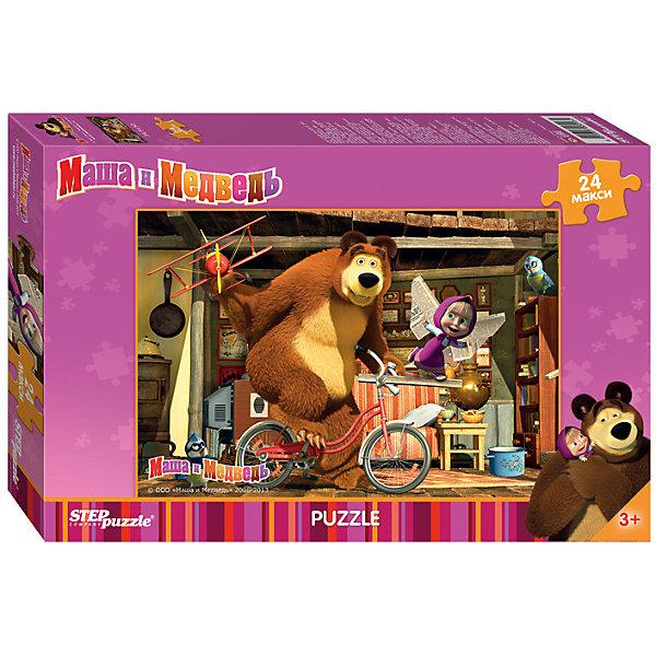 Пазл Маша и Медведь, 24 MAXI детали, Step PuzzleПазлы для малышей<br>Пазл Маша и Медведь, 24 MAXI детали, Step Puzzle (Степ Пазл) – это замечательный красочный пазл с изображением любимых героев.<br>Озорная Маша и добрый Медведь приглашают принять участие в волшебных приключениях. Подарите ребенку чудесный пазл Маша и Медведь, и он будет увлеченно подбирать детали, пока не составит яркую и интересную картинку, на которой Медведь на велосипеде гоняет с самолетом по дому. Большие детали позволяют самостоятельно собирать картинку даже маленьким детям. Сборка пазла Маша и Медведь от Step Puzzle (Степ Пазл) подарит Вашему ребенку не только множество увлекательных вечеров, но и принесет пользу для развития. Координация, моторика, внимательность легко тренируются, пока ребенок увлеченно подбирает детали. Качественные фрагменты пазла отлично проклеены и идеально подходят один к другому, поэтому сборка пазла обеспечит малышу только положительные эмоции. Вы будете использовать этот пазл не один год, ведь благодаря качественной нарезке детали не расслаиваются даже после многократного использования.<br><br>Дополнительная информация:<br><br>- Количество деталей: 24 MAXI детали<br>- Материал: картон<br>- Размер собранной картинки: 50х34,5 см.<br>- Особенно понравится поклонникам мультсериала Маша и Медведь<br>- Отличная проклейка<br>- Долгий срок службы<br>- Детали идеально подходят друг другу<br>- Яркий сюжет<br>- Упаковка: картонная коробка<br>- Размер упаковки: 245x380x40 мм.<br>- Вес: 340 гр.<br><br>Пазл Маша и Медведь, 24 MAXI детали, Step Puzzle (Степ Пазл) можно купить в нашем интернет-магазине.<br><br>Ширина мм: 38<br>Глубина мм: 25<br>Высота мм: 4<br>Вес г: 658<br>Возраст от месяцев: 36<br>Возраст до месяцев: 72<br>Пол: Унисекс<br>Возраст: Детский<br>Количество деталей: 24<br>SKU: 4162749