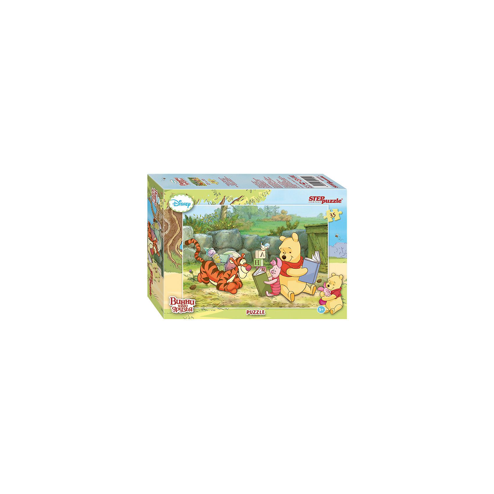 Пазл Винни и его друзья, 35 деталей, Step PuzzleПазл Винни и его друзья, 35 деталей, Step Puzzle (Степ Пазл) – это замечательный красочный пазл с изображением любимых героев.<br>Disney снова приглашает в Большой лес, где Вас ждет новая долгожданная встреча с Винни Пухом и его друзьями. Пазл с сюжетами о новых приключениях медвежонка Винни, выполнен в классическом стиле знаменитых мультфильмов Disney. Подарите ребенку чудесный пазл, и он будет подбирать детали, пока не составит яркую и интересную картинку, на которой Винни и его друзья увлеченно рассматривают книжки. Сборка пазла Винни и его друзья от Step Puzzle (Степ Пазл) подарит Вашему ребенку не только множество увлекательных вечеров, но и принесет пользу для развития. Координация, моторика, внимательность легко тренируются, пока ребенок увлеченно подбирает детали. Качественные фрагменты пазла отлично проклеены и идеально подходят один к другому, поэтому сборка пазла обеспечит малышу только положительные эмоции. Вы будете использовать этот пазл не один год, ведь благодаря качественной нарезке детали не расслаиваются даже после многократного использования.<br><br>Дополнительная информация:<br><br>- Количество деталей: 35<br>- Материал: картон<br>- Размер собранной картинки: 33х23 см.<br>- Отличная проклейка<br>- Долгий срок службы<br>- Детали идеально подходят друг другу<br>- Яркий сюжет<br>- Упаковка: картонная коробка<br>- Размер упаковки: 135x195x35 мм.<br>- Вес: 102 гр.<br><br>Пазл Винни и его друзья, 35 деталей, Step Puzzle (Степ Пазл) можно купить в нашем интернет-магазине.<br><br>Ширина мм: 20<br>Глубина мм: 14<br>Высота мм: 4<br>Вес г: 146<br>Возраст от месяцев: 36<br>Возраст до месяцев: 72<br>Пол: Унисекс<br>Возраст: Детский<br>Количество деталей: 35<br>SKU: 4162755