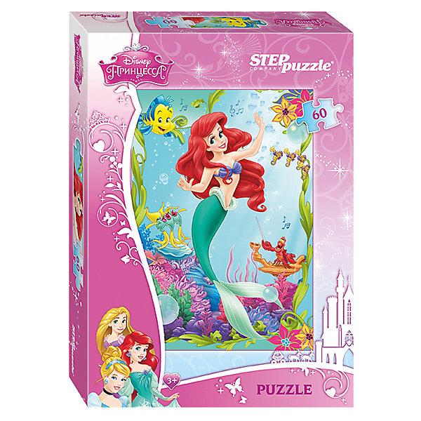 Пазл Русалочка, 60 деталей, Disney Princess, Step PuzzleПазлы для малышей<br>Пазл Русалочка, 60 деталей, Disney Princess, Step Puzzle (Степ Пазл) – это замечательный красочный пазл с изображением любимых героев.<br>В глубинах океана живет прекрасная русалочка Ариэль. Она дружит с крабом Себастьяном и рыбкой Флаундером, и с нетерпением ждет встречи с принцем Эриком. Подарите ребенку чудесный пазл, и он будет увлеченно подбирать детали, пока не составит яркую и интересную картинку. Подводный мир такой яркий и разнообразный, что собирать его одно удовольствие. Милая Русалочка поразит своими огненно-красными волосами, как на экране, а также красивым нарядом: купальником в виде ракушек и зеленым изящным хвостиком. Прекрасная Ариэль замерла в танцевальном па, рыбки аккомпанируют ей, напевая заводной мотив, а Флаундер и Себастьян  танцуют вместе с ней. Сборка пазла Русалочка от Step Puzzle (Степ Пазл) подарит Вашему ребенку не только множество увлекательных вечеров, но и принесет пользу для развития. Координация, моторика, внимательность легко тренируются, пока ребенок увлеченно подбирает детали. Качественные фрагменты пазла отлично проклеены и идеально подходят один к другому, поэтому сборка пазла обеспечит малышу только положительные эмоции. Вы будете использовать этот пазл не один год, ведь благодаря качественной нарезке детали не расслаиваются даже после многократного использования.<br><br>Дополнительная информация:<br><br>- Количество деталей: 60<br>- Материал: картон<br>- Размер собранной картинки: 23х33 см.<br>- Отличная проклейка<br>- Долгий срок службы<br>- Детали идеально подходят друг другу<br>- Яркий сюжет<br>- Упаковка: картонная коробка<br>- Размер упаковки: 137x195x36 мм.<br>- Вес: 110 гр.<br><br>Пазл Русалочка, 60 деталей, Disney Princess, Step Puzzle (Степ Пазл) можно купить в нашем интернет-магазине.<br><br>Ширина мм: 20<br>Глубина мм: 14<br>Высота мм: 4<br>Вес г: 118<br>Возраст от месяцев: 36<br>Возраст до месяцев: 72<br>Пол: Женский<br>Возраст: Детский<