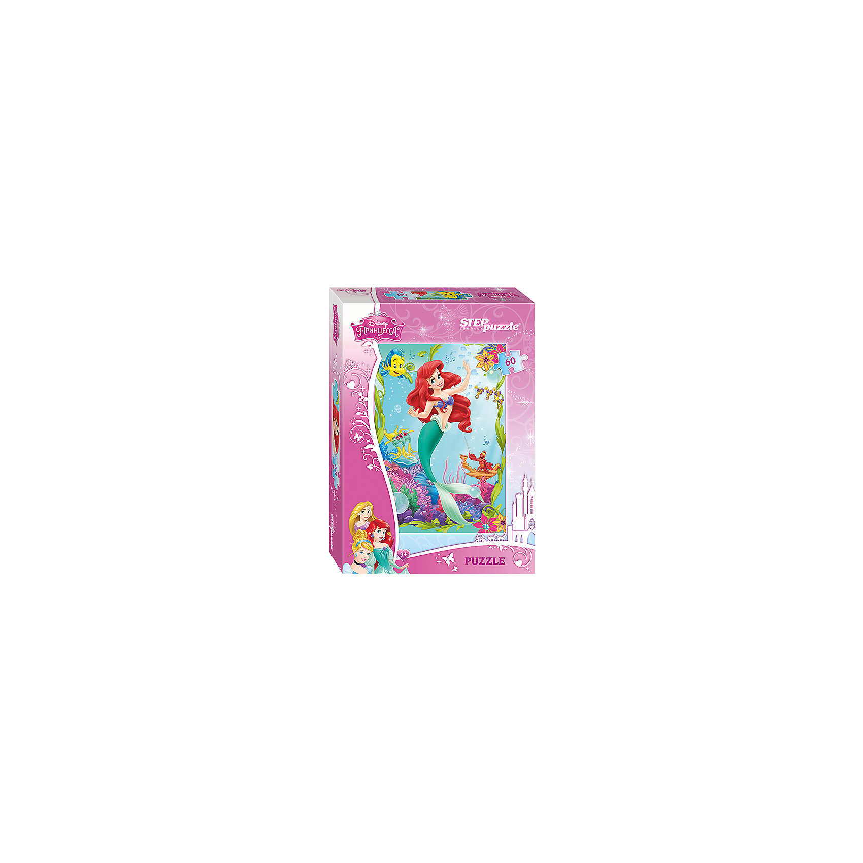 Пазл Русалочка, 60 деталей, Disney Princess, Step PuzzleПазл Русалочка, 60 деталей, Disney Princess, Step Puzzle (Степ Пазл) – это замечательный красочный пазл с изображением любимых героев.<br>В глубинах океана живет прекрасная русалочка Ариэль. Она дружит с крабом Себастьяном и рыбкой Флаундером, и с нетерпением ждет встречи с принцем Эриком. Подарите ребенку чудесный пазл, и он будет увлеченно подбирать детали, пока не составит яркую и интересную картинку. Подводный мир такой яркий и разнообразный, что собирать его одно удовольствие. Милая Русалочка поразит своими огненно-красными волосами, как на экране, а также красивым нарядом: купальником в виде ракушек и зеленым изящным хвостиком. Прекрасная Ариэль замерла в танцевальном па, рыбки аккомпанируют ей, напевая заводной мотив, а Флаундер и Себастьян  танцуют вместе с ней. Сборка пазла Русалочка от Step Puzzle (Степ Пазл) подарит Вашему ребенку не только множество увлекательных вечеров, но и принесет пользу для развития. Координация, моторика, внимательность легко тренируются, пока ребенок увлеченно подбирает детали. Качественные фрагменты пазла отлично проклеены и идеально подходят один к другому, поэтому сборка пазла обеспечит малышу только положительные эмоции. Вы будете использовать этот пазл не один год, ведь благодаря качественной нарезке детали не расслаиваются даже после многократного использования.<br><br>Дополнительная информация:<br><br>- Количество деталей: 60<br>- Материал: картон<br>- Размер собранной картинки: 23х33 см.<br>- Отличная проклейка<br>- Долгий срок службы<br>- Детали идеально подходят друг другу<br>- Яркий сюжет<br>- Упаковка: картонная коробка<br>- Размер упаковки: 137x195x36 мм.<br>- Вес: 110 гр.<br><br>Пазл Русалочка, 60 деталей, Disney Princess, Step Puzzle (Степ Пазл) можно купить в нашем интернет-магазине.<br><br>Ширина мм: 20<br>Глубина мм: 14<br>Высота мм: 4<br>Вес г: 118<br>Возраст от месяцев: 36<br>Возраст до месяцев: 72<br>Пол: Женский<br>Возраст: Детский<br>Количество деталей