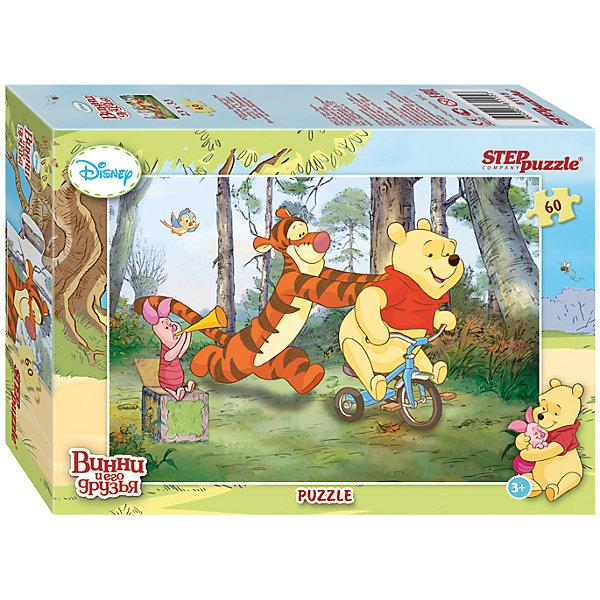 Пазл Винни и его друзья, 60 деталей, Step puzzleПазлы для малышей<br>Все обожают жителей волшебного леса! С медвежонком Винни и его друзьями никогда не бывает скучно. Но долго смотреть мультфильмы нельзя, а расставаться с Винни, Тигрой и Пятачком не хочется! Подарите малышу чудесный пазл Винни и его друзья и ребенок будет увлеченно подбирать детали, пока не составит яркую и интересную картинку. Сегодня друзья собрались, чтобы научить неуклюжего медвежонка Винни кататься на велосипеде. Сборка пазла Винни и его друзья от Степ Пазл подарит Вашему малышу не только несколько вечеров творчества, но и принесет пользу для развития. Координация, моторика, внимательность легко тренируются пока ребенок увлеченно подбирает детальки одна к другой. Детали среднего размера отлично подойдут для юных любителей пазлов. Качественные фрагменты пазла отлично проклеены и идеально подходят один к другому, поэтому сборка пазла обеспечит малышу только положительные эмоции. Вы будете использовать этот пазл не один год, ведь благодаря качественной нарезке детали не расслаиваются даже после многократного использования. Закончив работу Вы получите изображение любимых героев мультсериала Винни Пух!<br><br>Дополнительная информация:<br><br>- Количество деталей: 60;<br>- Особенно понравится поклонникам мультсериала Винни и его друзья;<br>- Идеально для начинающих;<br>- Отличная проклейка;<br>- Долгий срок службы;<br>- Детали среднего размера идеально подходят друг другу;<br>- Яркий сюжет;<br>- Материал: картон;<br>- Размер собранной картинки: 23 х 33 см.<br><br>Пазл Винни и его друзья, 60 деталей, Степ Пазл можно купить в нашем интернет-магазине.<br><br>Ширина мм: 20<br>Глубина мм: 14<br>Высота мм: 4<br>Вес г: 150<br>Возраст от месяцев: 36<br>Возраст до месяцев: 72<br>Пол: Унисекс<br>Возраст: Детский<br>Количество деталей: 60<br>SKU: 4162759