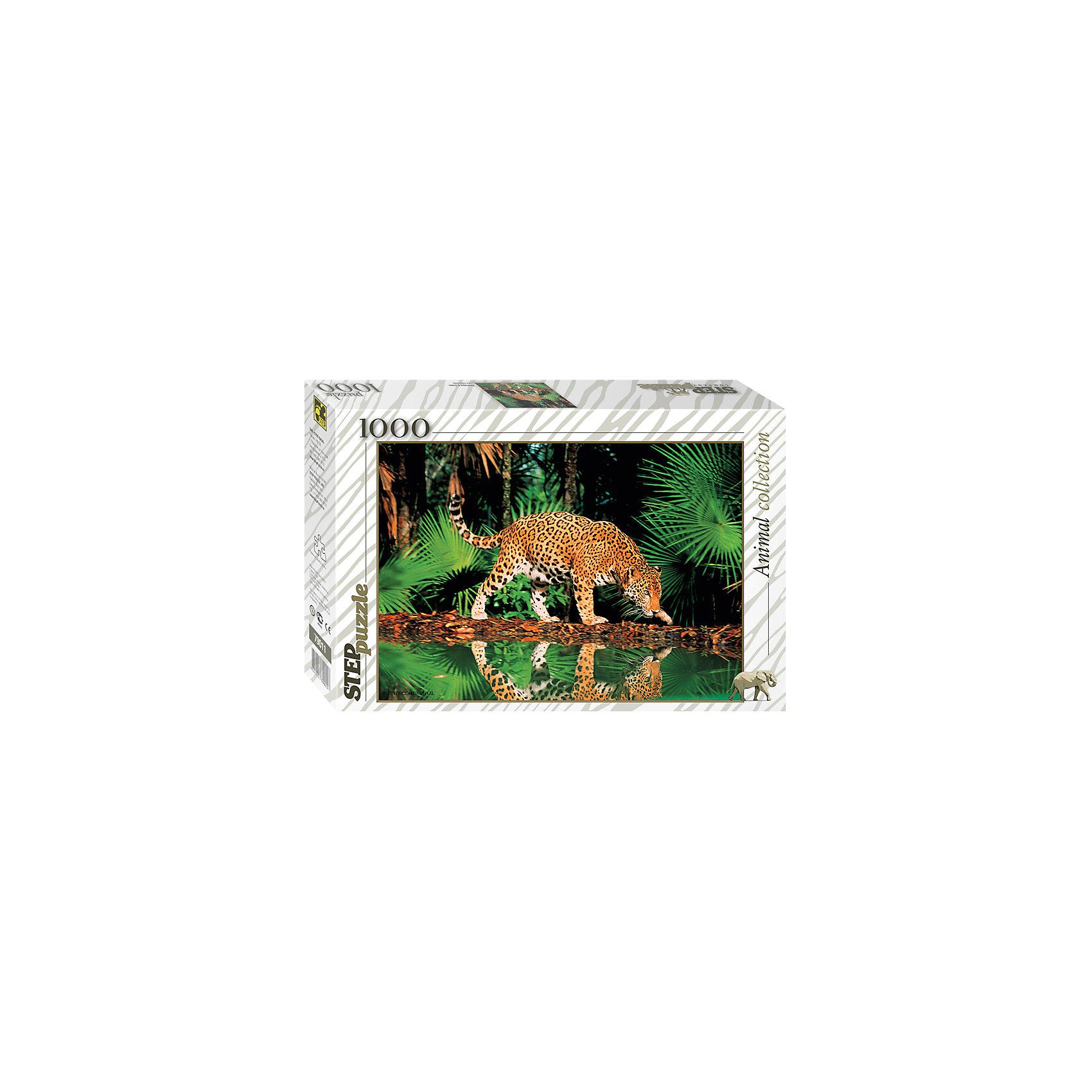 Пазл Леопард у воды, 1000 деталей, Step puzzleПазлы для детей постарше<br>Коллекционный подарочный пазл из серии «Animal Collection» наверняка приведет в восторг любителей дикой природы и прекрасных животных. Леопард самая быстрая кошка на планете. Все его мощное тело как будто каждую минуту готово броситься за добычей. Движения Леопарда очень грациозны. Масштабный пазл Леопард у воды изображает стремительное животное на отдыхе у водоема. Его крепкую фигуру мы видим и в отражении воды. Вы получите истинное наслаждения собирая прекрасные пейзажи саванны и яркое прекрасное животное. Вас обрадует прекрасное качество деталей и высокая точность в подгонке деталей. Сборка красивых пазлов прекрасное занятие для всей семьи. Готовая картина станет оригинальным украшением квартиры и поразит Ваших гостей своим великолепием и яркими красками.<br><br>Дополнительная информация:<br><br>- Количество деталей: 1000;<br>- Уникальное качество деталей;<br>- Развивает: воображение, логику, мелкую моторику, память;<br>- Чудесное украшение интерьера;<br>- Прекрасная полиграфия;<br>- Размер упаковки: 39 x 27 x 5 см;<br>- Размер готовой картинки: 68 х 48 см;<br>- Вес: 0,7 кг.<br><br>Пазл «Леопард у воды», 1000 деталей, Степ Пазл можно купить в нашем интернет-магазине.<br><br>Ширина мм: 40<br>Глубина мм: 27<br>Высота мм: 6<br>Вес г: 778<br>Возраст от месяцев: 168<br>Возраст до месяцев: 216<br>Пол: Унисекс<br>Возраст: Детский<br>Количество деталей: 1000<br>SKU: 4162763