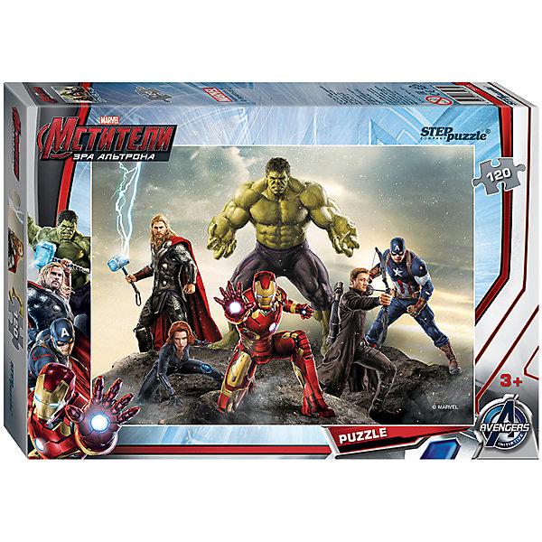Пазл Мстители-2, 120 деталей, Step puzzleМстители<br>Величайшие герои Земли выходят на борьбу со злом! Команда Мстителей всегда встречает вызовы судьбы и готова защитить человечество. Мальчишки обожают истории про супергероев. Но долго смотреть мультфильмы нельзя, а расставаться с Халком, Тором и Капитаном Америкой не хочется! Подарите мальчишке чудесный пазл Мстители-2 и ребенок будет увлеченно подбирать детали, пока не составит яркую и интересную картинку. Сборка пазла Мстители-2 от Степ Пазл подарит Вашему ребенку не только множество увлекательных вечеров, но и принесет пользу для развития. Координация, моторика, внимательность легко тренируются пока ребенок увлеченно подбирает детальки одна к другой. Качественные фрагменты пазла отлично проклеены и идеально подходят один к другому, поэтому сборка пазла обеспечит малышу только положительные эмоции. Вы будете использовать этот пазл не один год, ведь благодаря качественной нарезке детали не расслаиваются даже после многократного использования. Закончив работу Вы получите изображение любимых супергероев MARVEL!<br><br>Дополнительная информация:<br><br>- Количество деталей: 120 ;<br>- Особенно понравится поклонникам мультфильма Мстители-2;<br>- Отличная проклейка;<br>- Долгий срок службы;<br>- Детали среднего размера идеально подходят друг другу;<br>- Яркий сюжет;<br>- Материал: картон;<br>- Размер собранной картинки: 23 х 16,5 см.<br><br>Пазл Мстители-2, 120 деталей, Степ Пазл можно купить в нашем интернет-магазине.<br><br>Ширина мм: 175<br>Глубина мм: 125<br>Высота мм: 35<br>Вес г: 74<br>Возраст от месяцев: 36<br>Возраст до месяцев: 72<br>Пол: Мужской<br>Возраст: Детский<br>Количество деталей: 120<br>SKU: 4162766