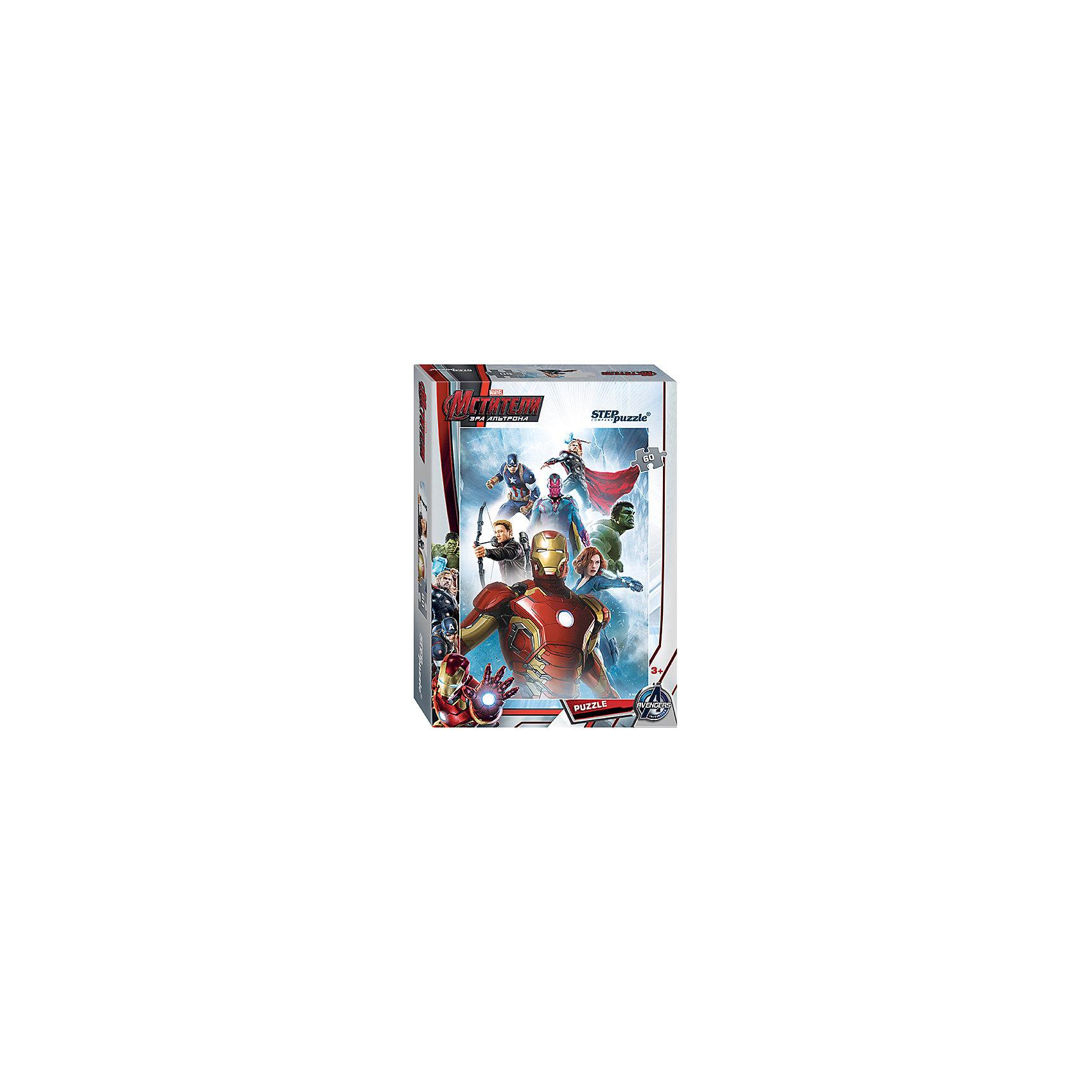 Пазл Мстители-2, 60 деталей, Step puzzleПазлы для малышей<br>Величайшие герои Земли выходят на борьбу со злом! Команда Мстителей всегда встречает вызовы судьбы и готова защитить человечество. Мальчишки обожают истории про супергероев. Но долго смотреть мультфильмы нельзя, а расставаться с Халком, Тором и Капитаном Америкой не хочется! Подарите мальчишке чудесный пазл Мстители-2 и ребенок будет увлеченно подбирать детали, пока не составит яркую и интересную картинку. Сборка пазла Мстители-2 от Степ Пазл подарит Вашему ребенку не только множество увлекательных вечеров, но и принесет пользу для развития. Координация, моторика, внимательность легко тренируются пока ребенок увлеченно подбирает детальки одна к другой. Качественные фрагменты пазла отлично проклеены и идеально подходят один к другому, поэтому сборка пазла обеспечит малышу только положительные эмоции. Вы будете использовать этот пазл не один год, ведь благодаря качественной нарезке детали не расслаиваются даже после многократного использования. Закончив работу Вы получите изображение любимых супергероев MARVEL!<br><br>Дополнительная информация:<br><br>- Количество деталей: 60 ;<br>- Особенно понравится поклонникам мультфильма Мстители-2;<br>- Отличная проклейка;<br>- Долгий срок службы;<br>- Детали среднего размера идеально подходят друг другу;<br>- Яркий сюжет;<br>- Материал: картон;<br>- Размер собранной картинки: 23 х 33 см.<br><br>Пазл Мстители-2, 60 деталей, Степ Пазл можно купить в нашем интернет-магазине.<br><br>Ширина мм: 195<br>Глубина мм: 137<br>Высота мм: 35<br>Вес г: 118<br>Возраст от месяцев: 36<br>Возраст до месяцев: 72<br>Пол: Мужской<br>Возраст: Детский<br>Количество деталей: 60<br>SKU: 4162767
