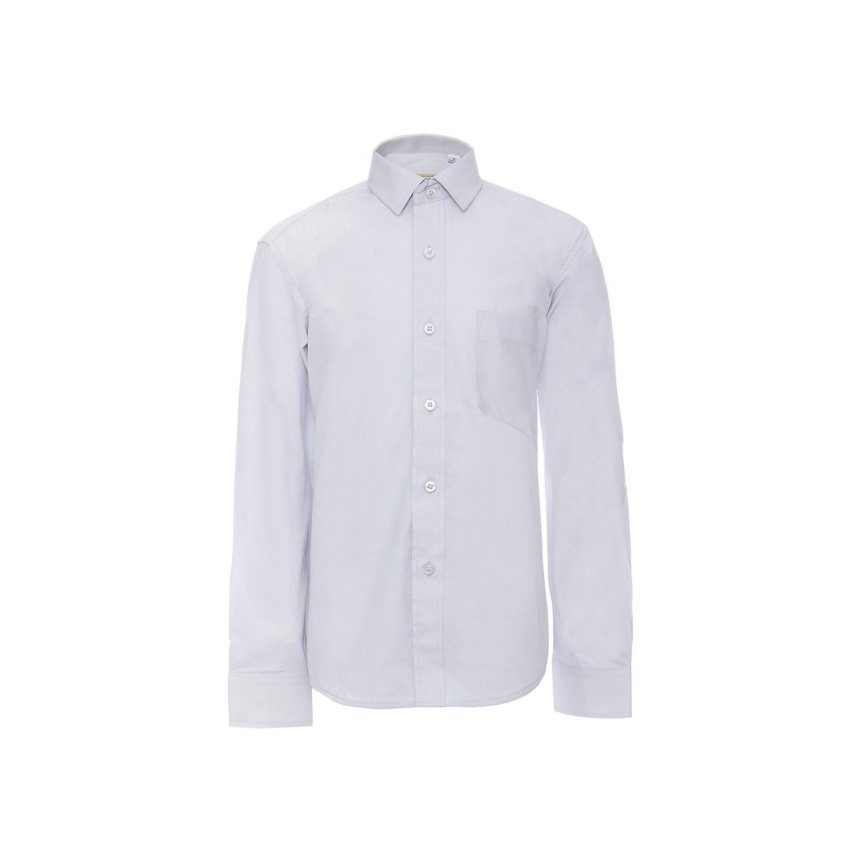Рубашка для мальчика ImperatorБлузки и рубашки<br>Характеристики товара:<br><br>• цвет: голубой<br>• состав ткани: 80% хлопок, 20% полиэстер<br>• особенности: школьная, праздничная<br>• застежка: пуговицы<br>• рукава: длинные<br>• сезон: круглый год<br>• страна бренда: Российская Федерация<br>• страна изготовитель: Китай<br><br>Сорочка классического кроя для мальчика - отличный вариант практичной и стильной школьной одежды.<br><br>Накладной карман, воротник с отсрочкой, прямой низ, дышащая ткань с преобладанием хлопка - красиво и удобно.<br><br>Рубашку для мальчика Tsarevich (Царевич) можно купить в нашем интернет-магазине.<br><br>Ширина мм: 174<br>Глубина мм: 10<br>Высота мм: 169<br>Вес г: 157<br>Цвет: серый<br>Возраст от месяцев: 156<br>Возраст до месяцев: 168<br>Пол: Мужской<br>Возраст: Детский<br>Размер: 164/170,92/98,122/128,110/116,128/134,116/122,134/140,98/104,140/146,104/110,146/152,146/152,152/158,152/158,158/164<br>SKU: 4163750