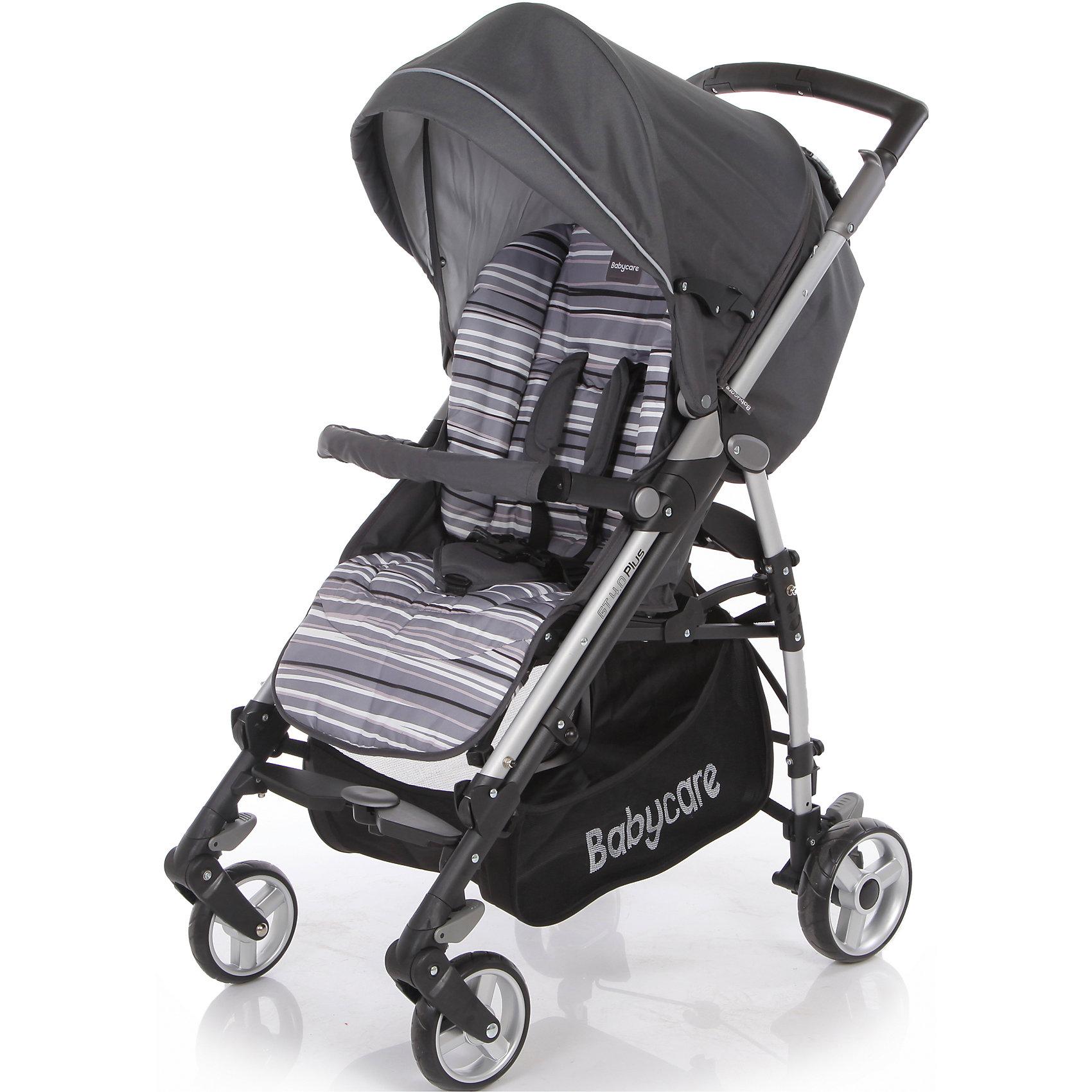 Коляска-трость GT4 Plus Baby Care, серыйХарактеристики коляски-трости Baby Care GT4 Plus:<br><br>• спинка коляски регулируется в 3-х положениях, угол наклона почти 170 градусов;<br>• подножка регулируется в 2-х положениях, удлиняет спальное место;<br>• 5-ти точечные ремни безопасности;<br>• глубокий капюшон с дополнительной секцией опускается до бампера;<br>• капюшон оснащен солнцезащитным козырьком со светоотражающей накладкой;<br>• на задней стороне капюшона есть кармашек для мелочей;<br>• съемный бампер с мягкой накладкой;<br>• корзина для покупок;<br>• материал: пластик, полиэстер;<br>• размер коляски в разложенном виде: 103х51х87 см;<br>• размер коляски в сложенном виде: 99х31х29 см;<br>• вес коляски: 10,1 кг;<br>• допустимый вес ребенка: до 15 кг.<br><br>Характеристики шасси коляски:<br><br>• механизм складывания: трость;<br>• защита от случайного раскладывания коляски;<br>• одинарные колеса с пружинными подвесками;<br>• передние поворотные с блокировкой;<br>• на задних колесах реечный тормоз;<br>• материал рамы: алюминий;<br>• материал колес: пеноплен (вспененная резина);<br>• диаметр колес: 16 см, 18 см;<br>• ширина колесной базы: 51 см.<br><br>Компактная коляска-трость GT4 Plus предназначена для детей в возрасте от 7 месяцев до 4-х лет. Спинка коляски и подножка регулируются, ребенок может спокойно спать в прогулочном блоке при горизонтально разложенной спинке и подножке коляски. Утепленный чехол на ножки защищает малыша от ветра и непогоды, а глубокий капюшон с дополнительной секцией, раскладывающийся до бампера, скроет кроху от нежелательных глаз, защитит от ветра и солнечных лучей, поможет обустроить уютное гнездышко для сна. <br><br>Комплектация:<br><br>• коляска-трость GT4 Plus;<br>• дождевик;<br>• чехол на ножки;<br>• инструкция. <br><br>Коляску-трость GT4 Plus Baby Care, серую можно купить в нашем интернет-магазине.<br><br>Ширина мм: 1040<br>Глубина мм: 350<br>Высота мм: 350<br>Вес г: 12000<br>Возраст от месяцев: 6<br>Возраст до месяцев: 36<br>Пол: У