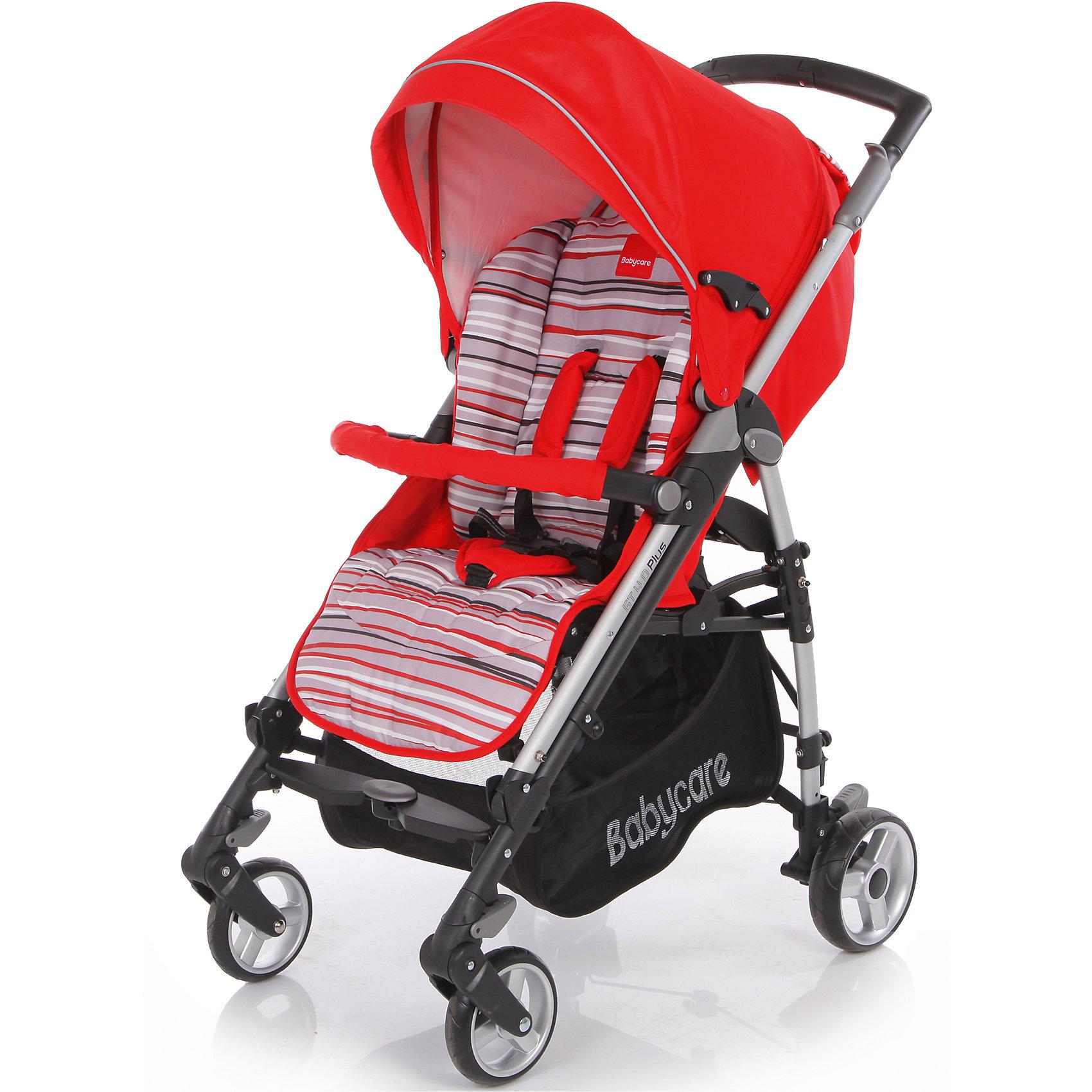 Коляска-трость GT4 Plus Baby Care, красныйКоляска-трость GT4 Plus Baby Care - легкая современная прогулочная коляска, которая отвечает всем требованиям комфорта и безопасности малыша. Очень практична для использования в любой ситуации. Коляска оснащена удобным для ребенка широким сиденьем с мягкими 5-<br>точечными ремнями безопасности и мягким съемным бампером. Спинка раскладывается в 3 различных положениях, вплоть до горизонтального. Подножка регулируется в двух положениях, позволяя удлинить спальное место. Складной капюшон отлично защищает от ветра и дождя,<br>широко раскладывается за счет дополнительных секций, скрытых под молнией, и может опускаться до бампера. Для родителей предусмотрена удобная эргономичная ручка и вместительная корзина для принадлежностей малыша. <br><br>Коляска оснащена 4 резиновыми колесами с пружинными подвесками, что обеспечивает мягкое комфортное передвижение. Передние колеса плавающие с возможностью фиксации, задние колеса с реечным тормозом. Коляска легко и компактно складывается тростью, а специальный<br>замок безопасности предохраняет сложенную коляску от случайного раскрытия. Съемные тканевые детали можно стирать при температуре 40 градусов. Подходит для детей от 6 мес. до 3 лет.<br><br><br>Особенности:<br><br>- удобна для транспортировки и хранения;<br>- облегченная алюминиевая рама;<br>- широкое прогулочное сиденье;<br>- мягкий бампер;<br>- регулируемый в 3 положениях наклон спинки;<br>- капюшон легко трансформируется в тент с помощью молний;<br>- корзина для вещей ребенка;<br>- дождевик;<br>- накидка на ноги;<br>- 4 колеса с пружинными подвесками;<br>- легко и компактно складывается тростью.<br><br><br>Дополнительная информация:<br><br>- Цвет: красный.<br>- Материал: текстиль, металл, пластик.<br>- Диаметр передних колес: 16 см.<br>- Диаметр задних колес: 18 см.<br>- Ширина шасси: 51 см.<br>- Размер в разложенном виде: 103 х 51 х 87 см.<br>- Размер в сложенном виде: 31 х 99 см.<br>- Вес: 10,1 кг.<br><br>Коляску-трость GT4 Plus Ba
