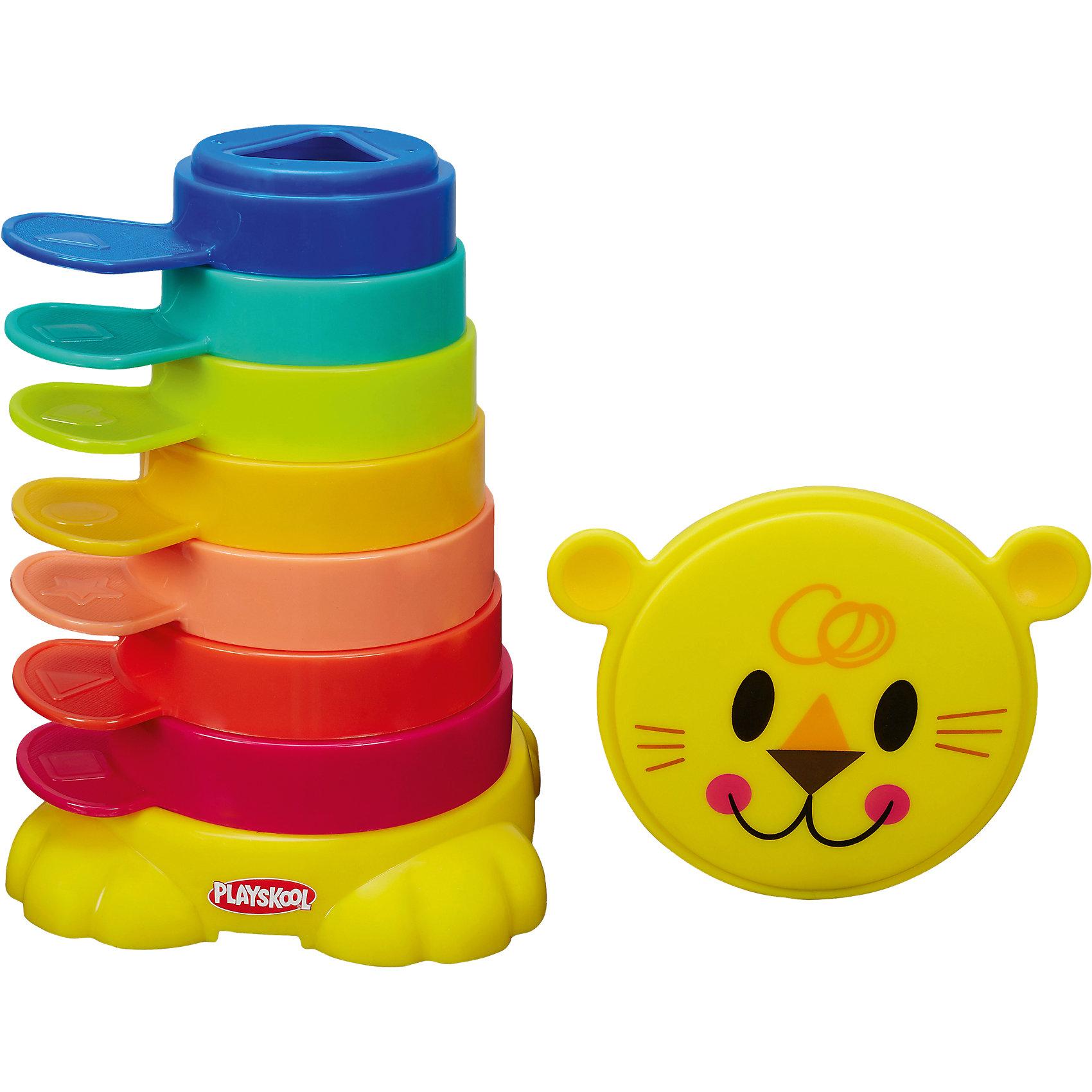 Пирамидка-львенок  Возьми с собой, PLAYSKOOLПотому что играть можно повсюду! Пирамидка-львенок - это яркая игра. Малыш может складывать чашки одну на другую или укладывать их внтурь друг друга по принципу матрешки, разваивая навыки мелкой моторики. В центре каждой чашечки есть выемка геометрической формы, чтобы малышу было удобнее брать их ручками, а также ручки снаружи чашечек, чтобы также удобно было брать пальчиками. В комплекте есть подставка и крышка в виде львенка, чтобы вы могли легко, компактно собрать и удобно хранить внутри все 7 чашечек. Компактный размер пирамидки повзоляет ей с легкостью помещаться в дорожную сумку.<br><br>Ширина мм: 261<br>Глубина мм: 203<br>Высота мм: 66<br>Вес г: 377<br>Возраст от месяцев: 6<br>Возраст до месяцев: 24<br>Пол: Унисекс<br>Возраст: Детский<br>SKU: 4166212
