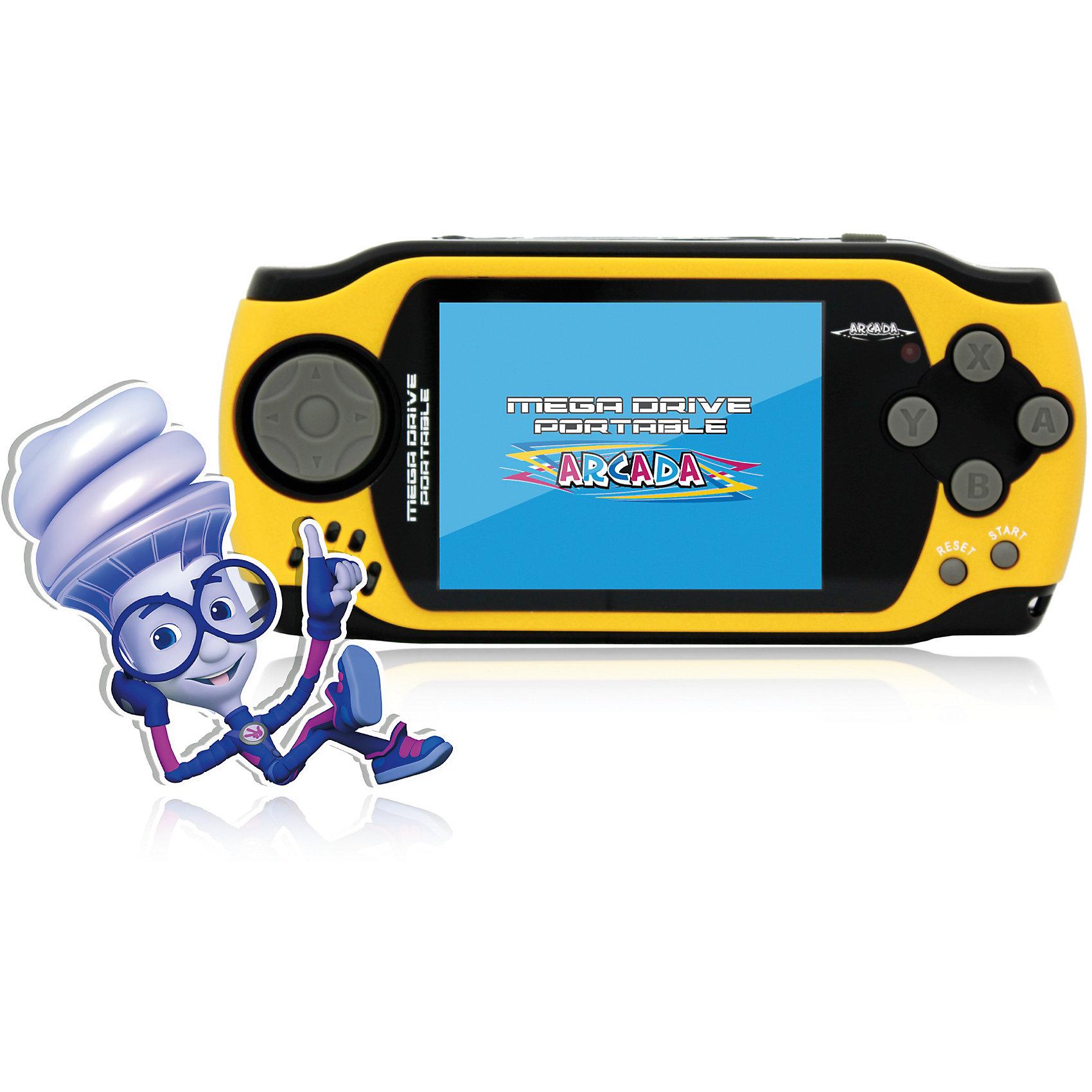 Игровая Фикси - Приставка Arcada, Mega Drive, ФиксикиИгровая Фикси - Приставка Arcada, Mega Drive, Фиксики – игровое устройство из серии 16-битных портативных приставок со встроенными играми.<br>Игровая Фикси - Приставка Arcada - яркое игровое устройство в памяти, которой находится коллекция из 105 самых популярных видеоигр 16-битного геймплея. Особенностью коллекции игр приставки является то, что в ней собраны не только простые игры для приятного времяпрепровождения детей и взрослых, но и специальные логические и спортивные игры, которые тренируют память, развивают смекалку, быстроту реакции и конечно влияют на мелкую моторику рук. Оформлено устройство в стиле популярного мультсериала «Фиксики». Приставка имеет четырёхпазный джойстик слева, который обычно используются для движения, и шесть функциональных кнопок справа. Кнопки выполнены из удобного мягкого пластика. Удачное расположение кнопок и эргономичный дизайн корпуса позволяют приставке удобно помещаться в руках и не напрягать кисти рук даже во время самых длительных игровых баталий. Дисплей выполнен по технологии CSTN (Color Super Twist Nematic), что обеспечивает поистине потрясающую яркость и контрастность. Также приставка оборудована AV-выходом, благодаря чему устройство можно подключить к телевизору и проходить любимые игры на большом экране и навсегда забыть о стационарных консолях огромных размеров. Встроенный динамик обеспечит качественное, громкое звучание, и звуки баталий будут отчётливо слышны не только Вам, но и окружающей компании. При необходимости к консоли можно подключить и наушники - приставка оснащена стандартным гнездом звукового выхода 3,5 мм.<br><br>Дополнительная информация:<br><br>- Комплектация: консоль со встроенными играми, AV-кабель, инструкция, гарантийный талон<br>- Дисплей: 3 дюйма LCD, разрешение 320x240 точек<br>- Встроенные игры: 105<br>- Источник питания: 3 батарейки типа ААА<br>- Время работы: около 8 часов<br>- Разъемы: видео выход - AV (видео + аудио)<br>- Материал корпуса: