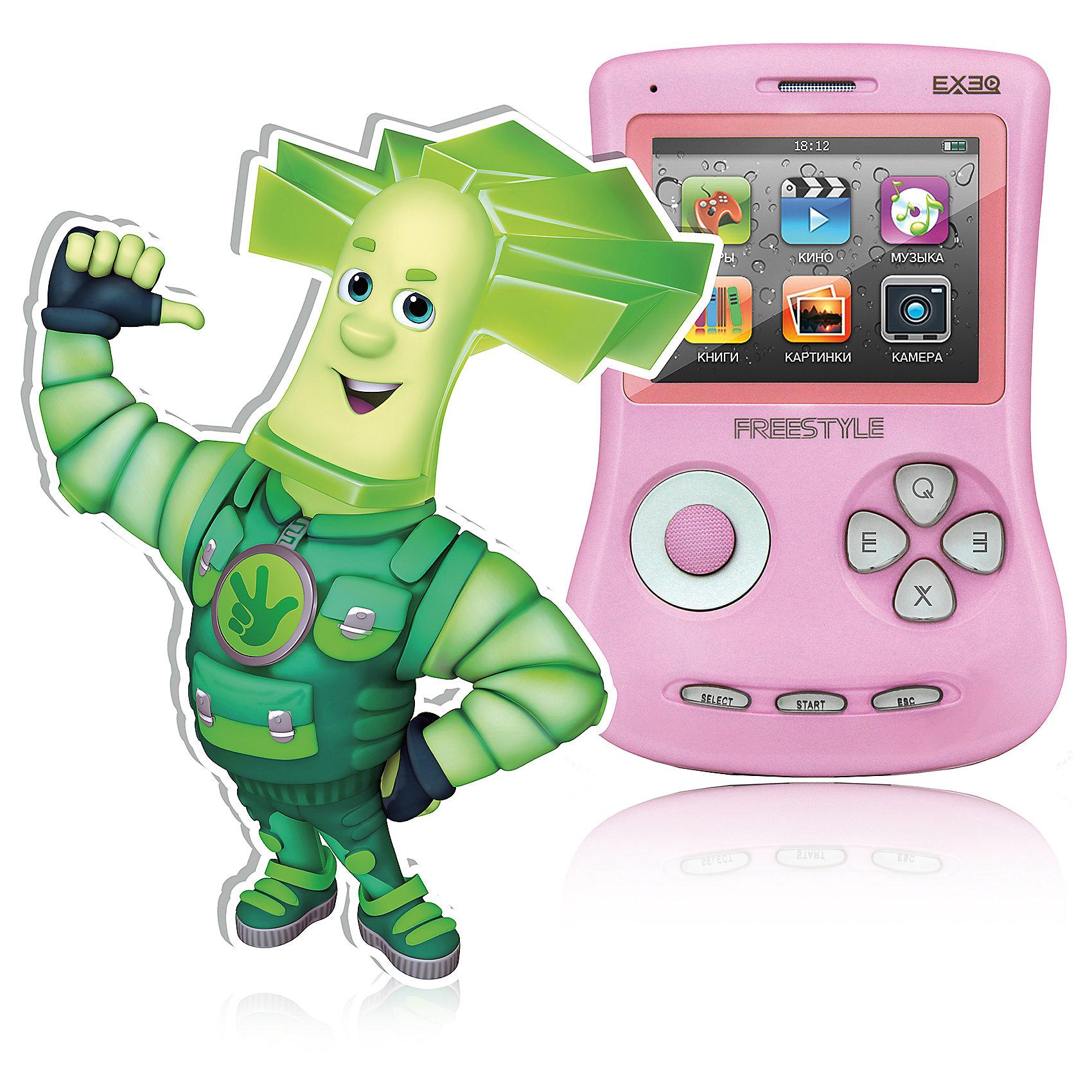 Игровая Фикси - Приставка Freestyle, EXEQ, ФиксикиИгровая Фикси - Приставка Freestyle, EXEQ, Фиксики - портативное устройство, объединившее игровую приставку, камеру, плеер и многое другое.<br>Игровая Фикси - Приставка Freestyle – это универсальная игровая приставка с оригинальным дизайном, LCD-дисплеем в 2,7 дюймов, встроенной памятью на 4 Гб и богатыми мультимедийными возможностями! Фикси-приставка воспроизводит любые игрушки на 8, 16 и 32 бита, которые можно свободно и бесплатно скачать из Интернета или же довольствоваться 700 встроенными играми. А когда игры наскучат, Freestyle развлечет вас музыкой (поддерживаются MP3, FLAC, APE и другие), видео в большинстве популярных форматов (включая MP4, AVI) или чтением электронных книг. В арсенале приставки предусмотрены даже FM-радио и камера! И еще один немаловажный аргумент – наличие видеовыхода на телевизор с RCA-кабелем в комплекте! Также игровая Фикси-приставка Freestyle имеет специальный пакет приложений от Фиксиков.<br><br>Дополнительная информация:<br><br>- Комплектация: игровая консоль, сетевой адаптер, наушники, AV-кабель, USB-кабель, инструкция, гарантийный талон<br>- Приложения: 700 предустановленных игр, календарь, часы, калькулятор, секундомер и др.<br>- Пакет приложений от фиксиков: 12 серий сериала «Фиксики», 6 видеоклипов и Фиксипелки<br>- Наслаждайтесь музыкой во время просмотра изображений или чтения книг<br>- Дисплей: 2,7 LCD с разрешением 320х240 px<br>- Встроенная память: 4 Гб<br>- Источник питания: аккумулятор Lion емкостью 900 mAH<br>- Время работы без подзарядки: около 6 часов<br>- Разъемы: AV-выход (видео + аудио), PAL/NTSC, выход для наушников, USB<br>- Карты памяти: Micro SD, объёмом до 16 Gb<br>- Зарядка: через сетевой адаптер или от ПК через USB<br>- Аудио: MP3, WMA, WMA, AAC, FLAC, APE и другие музыкальные форматы<br>- Видео: RRM, RMVB, AVI, FLV, 3GP, MP4, ASF, WAV, DAT, MPG и другие видео форматы<br>- Изображения: JPEG, BMP, GIF, PNG полноэкранный просмотр, слайд-шоу<br>- Электронная книг