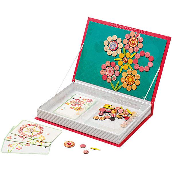 Большая магнитная книга-игра Цветы, JanodНастольные игры для всей семьи<br>Собирать разные изображения из деталей - любимое занятие многих детей.  Магнитные фигурки - отличный способ развивать творческие способности ребенка в игровой форме. Эта игра очень удобна - ее можно брать с собой в дорогу, благодаря продуманной форме хранится она очень компактно. Она развивает также мелкую моторику, художественный вкус, воображение, логическое мышление, цветовосприятие. Такая игра надолго занимает детей и помогает увлекательно провести время!<br>Игра из магнитных деталей Цветы сделана в виде книги, но внутри ее содержатся магниты разных форм и расцветок, из которых можно создать огромное количество ярких цветов. Игра разработана опытными специалистами, сделана из высококачественных материалов, безопасных для детей.<br><br>Дополнительная информация:<br><br>материал: картон;<br>размер: 30 х 21,5 х 4 см;<br>комплектация: книга-коробка с магнитной застежкой, 113 магнитов, 5 карточек.<br><br>Магнитную книгу-игру Цветы от компании Janod можно купить в нашем магазине.<br><br>Ширина мм: 302<br>Глубина мм: 218<br>Высота мм: 43<br>Вес г: 780<br>Возраст от месяцев: 36<br>Возраст до месяцев: 72<br>Пол: Женский<br>Возраст: Детский<br>SKU: 4171223