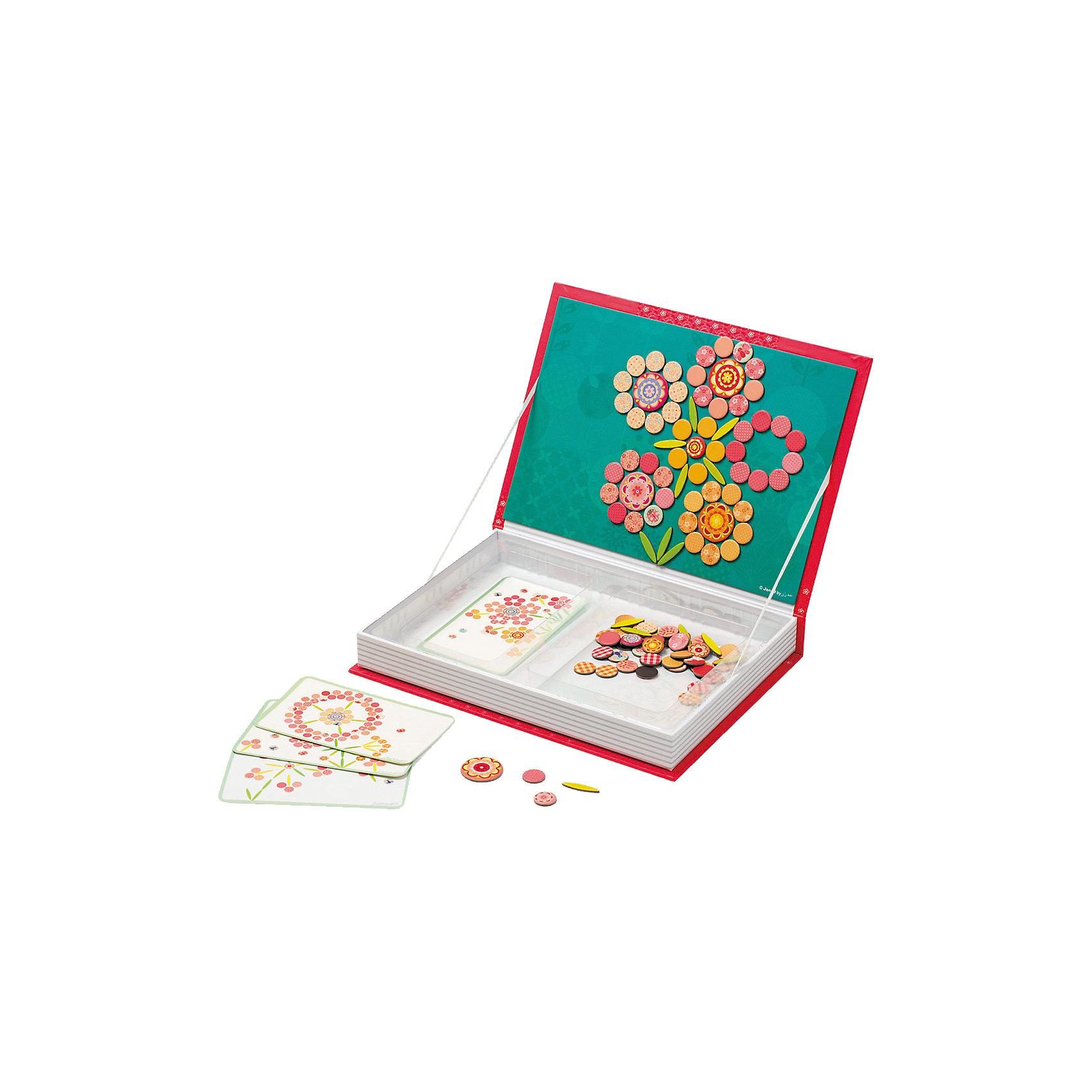Большая магнитная книга-игра Цветы, JanodСобирать разные изображения из деталей - любимое занятие многих детей.  Магнитные фигурки - отличный способ развивать творческие способности ребенка в игровой форме. Эта игра очень удобна - ее можно брать с собой в дорогу, благодаря продуманной форме хранится она очень компактно. Она развивает также мелкую моторику, художественный вкус, воображение, логическое мышление, цветовосприятие. Такая игра надолго занимает детей и помогает увлекательно провести время!<br>Игра из магнитных деталей Цветы сделана в виде книги, но внутри ее содержатся магниты разных форм и расцветок, из которых можно создать огромное количество ярких цветов. Игра разработана опытными специалистами, сделана из высококачественных материалов, безопасных для детей.<br><br>Дополнительная информация:<br><br>материал: картон;<br>размер: 30 х 21,5 х 4 см;<br>комплектация: книга-коробка с магнитной застежкой, 113 магнитов, 5 карточек.<br><br>Магнитную книгу-игру Цветы от компании Janod можно купить в нашем магазине.<br><br>Ширина мм: 302<br>Глубина мм: 218<br>Высота мм: 43<br>Вес г: 780<br>Возраст от месяцев: 36<br>Возраст до месяцев: 72<br>Пол: Женский<br>Возраст: Детский<br>SKU: 4171223