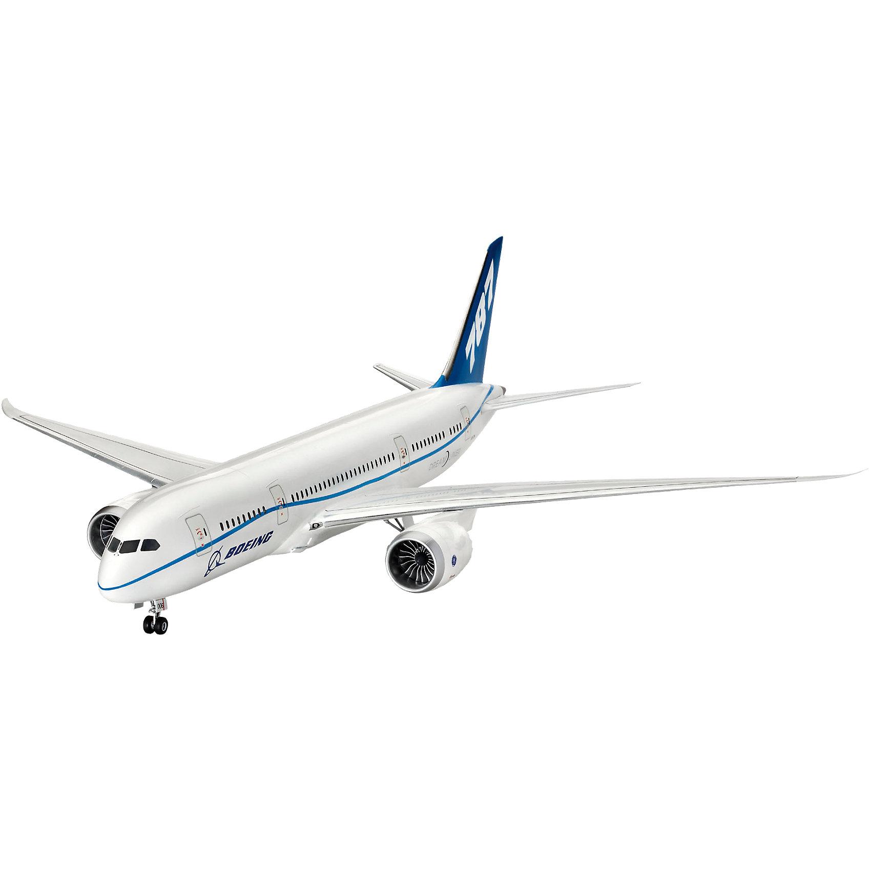 Cамолет Пассажирский Boeing 787 DreamlinerМодели для склеивания<br>Характеристики товара:<br><br>• возраст: от 10 лет;<br>• масштаб: 1:144;<br>• количество деталей: 72 шт;<br>• материал: пластик; <br>• клей и краски в комплект не входят;<br>• длина модели: 38,6 см;<br>• размах крыльев: 42 см;<br>• бренд, страна бренда: Revell (Ревел), Германия;<br>• страна-изготовитель: Польша.<br><br>Модель для сборки «Cамолет Пассажирский Boeing 787 Dreamliner» поможет вам и вашему ребенку придумать увлекательное занятие на долгое время и весело провести свой досуг. <br><br>В набор входят 72 пластиковые детали, которые помогут воссоздать точную копию одноименного самолета. Детали можно собрать при помощи клея, согласно инструкции. Готовый истребитель украсит стол или книжную полку ребенка. Краски и клей в комплект не входят.<br><br>Процесс сборки развивает интеллектуальные и инструментальные способности, воображение и конструктивное мышление, а также прививает практические навыки работы со схемами и чертежами.<br> <br>Модель для сборки «Cамолет Пассажирский Boeing 787 Dreamliner», 72 дет., Revell (Ревел) можно купить в нашем интернет-магазине.<br><br>Ширина мм: 539<br>Глубина мм: 210<br>Высота мм: 68<br>Вес г: 416<br>Возраст от месяцев: 120<br>Возраст до месяцев: 180<br>Пол: Мужской<br>Возраст: Детский<br>SKU: 4171715