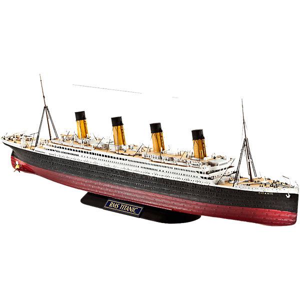 Пароход Титаник, британскийКорабли и подводные лодки<br>Характеристики товара:<br><br>• возраст: от 10 лет;<br>• масштаб: 1:700;<br>• количество деталей: 132 шт;<br>• материал: пластик;<br>• клей и краски в комплект не входят;<br>• длина модели: 28,7 см;<br>• бренд, страна бренда: Revell (Ревел),Германия;<br>• страна-изготовитель: Китай.<br><br>Сборная модель «Пароход Титаник» поможет вам и вашему ребенку придумать увлекательное занятие на долгое время. Корабль выполнен в масштабе 1:700. Игрушка имеет высокую степень детализации, что делает ее точной копией настоящего морского судна. <br><br>«Титаник» - это, пожалуй, самый известный пассажирский лайнер во всем мире. Это и не удивительно, ведь он был первым пароходом-гигантом в свое время. <br><br>Модель для склеивания включает в себя 132 пластиковых элемента, и он украсит стол или книжную полку ребенка. Обращаем ваше внимание на тот факт, что для сборки этой модели клей и краски в комплект не входят. <br><br>Процесс сборки развивает интеллектуальные и инструментальные способности, воображение и конструктивное мышление, а также прививает практические навыки работы со схемами и чертежами.<br><br>Сборную модель «Пароход Титаник», 132 дет., Revell (Ревел) можно купить в нашем интернет-магазине.<br>Ширина мм: 459; Глубина мм: 213; Высота мм: 71; Вес г: 431; Возраст от месяцев: 120; Возраст до месяцев: 180; Пол: Мужской; Возраст: Детский; SKU: 4171720;