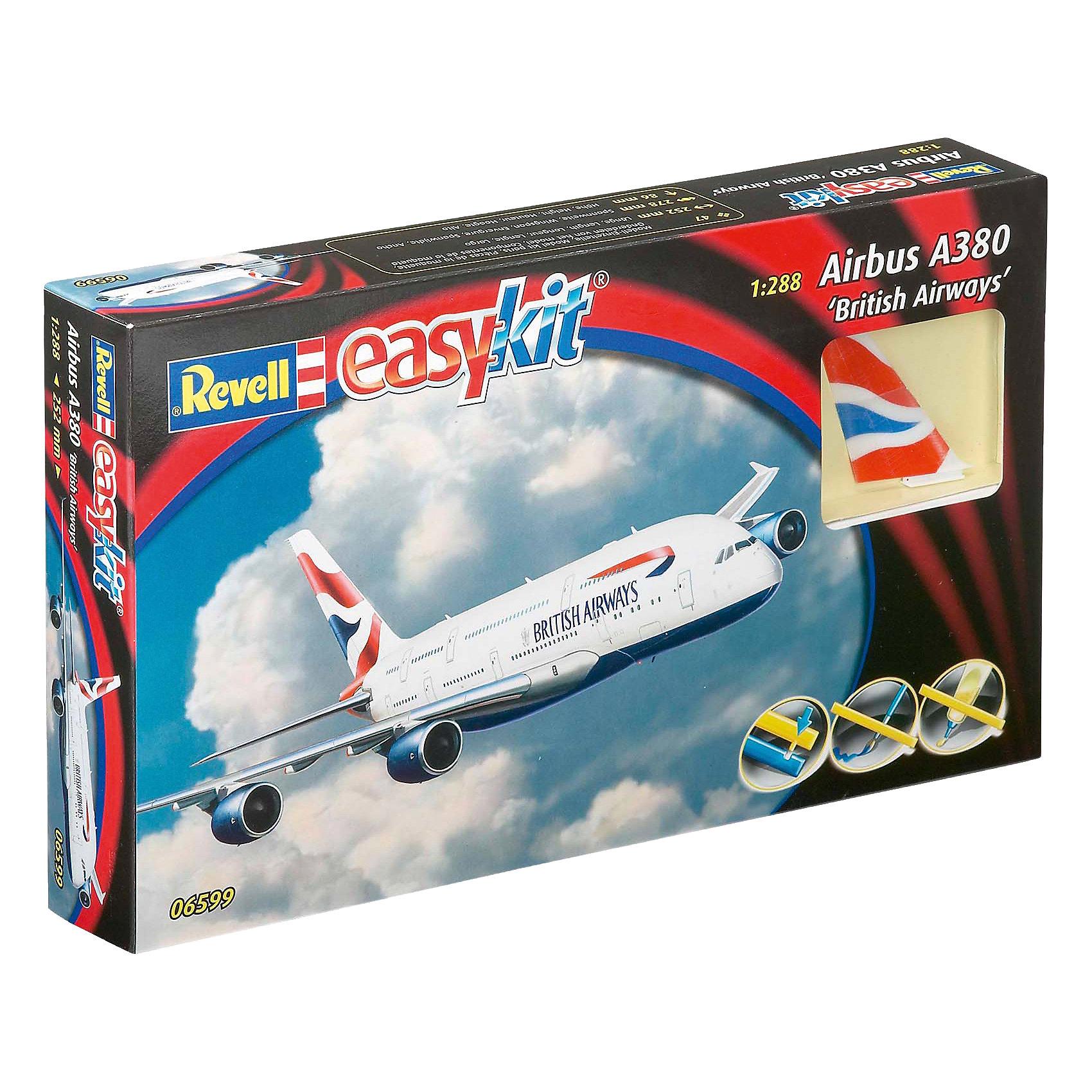 Сборка Пассажирский Самолет Airbus A380 EmiratesМодели для склеивания<br>Сборная модель пассажирского самолета Airbus A380 British airways. Идеальный вариант для новичков, которые начинают знакомиться со стендовым моделизмом. Модель собирается без клея и ее детали уже окрашены. Поэтому со сборкой Airbus A380 British airways сможет справиться человек и без опыта. <br>Масштаб модели 1:288. Всего в наборе 47 детали из пластика. Они соединяются между собой при помощи пазов. Клей и краска вам не понадобятся.  <br>Длина модели 25,2 см. Размах крыльев 27,8 см. Высота модели 8,6 см. <br>Модель может быть рекомендована для детей старше 6 лет.<br><br>Ширина мм: 311<br>Глубина мм: 185<br>Высота мм: 50<br>Вес г: 242<br>Возраст от месяцев: 72<br>Возраст до месяцев: 132<br>Пол: Мужской<br>Возраст: Детский<br>SKU: 4171725