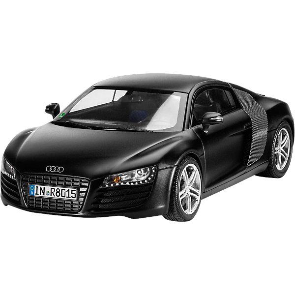 Автомобиль Audi R8, черныйМодели для склеивания<br>Характеристики товара:<br><br>• возраст: от 8 лет;<br>• цвет: черный;<br>• масштаб: 1:24<br>• количество деталей: 106 шт;<br>• материал: пластик;<br>• клей и краски в комплект не входят;<br>• длина модели: 18,4 см;<br>• бренд, страна бренда: Revell (Ревел),Германия;<br>• страна-изготовитель: Китай.<br><br>Сборная модель «Автомобиль Audi R8» поможет вам и вашему ребенку придумать увлекательное занятие на долгое время. Модель является имеет интересный дизайн и очень хорошо детализирована.<br><br>Набор включает в себя 106 пластиковых элементов и подробную инструкцию, в итоге у вас получится отлично проработанная модель с аутентичной панелью управления, текстурированными сиденьями и детализированным интерьером. Капот модели можно открыть, чтобы рассмотреть двигатель, колеса имеют хромированные элементы и крутятся, благодаря чему модель может ездить по ровной поверхности.<br><br>Процесс сборки развивает интеллектуальные и инструментальные способности, воображение и конструктивное мышление, а также прививает практические навыки работы со схемами и чертежами. <br><br>Сборную модель «Автомобиль Audi R8», 106 дет., Revell (Ревел) можно купить в нашем интернет-магазине.<br><br>Ширина мм: 359<br>Глубина мм: 213<br>Высота мм: 73<br>Вес г: 377<br>Возраст от месяцев: 120<br>Возраст до месяцев: 180<br>Пол: Мужской<br>Возраст: Детский<br>SKU: 4171729
