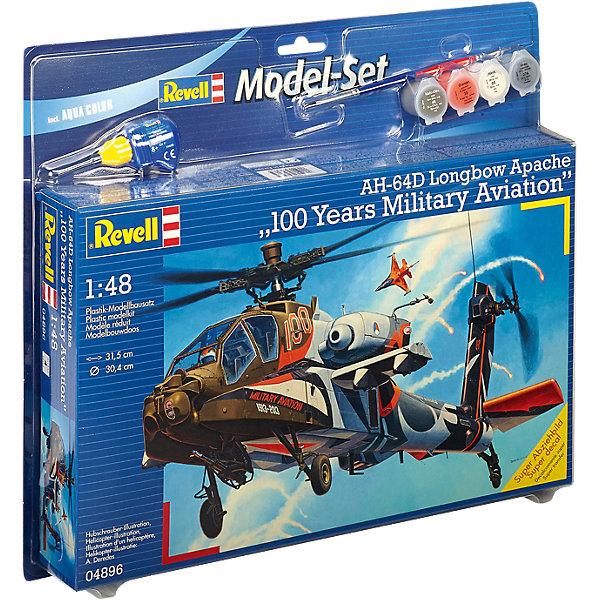 Ударный вертолет Apache 100-Mil, RevellСамолёты и вертолёты<br>Ударный вертолет Apache 100-Mil, Revell (Ревелл) –  максимально детализированная модель станет украшением комнаты и дополнением коллекции.<br>Голландский ударный вертолёт AH-64D Apache 100-Mil является одним из передовых универсальных и хорошо вооружённых боевых вертолётов в мире. Тщательно проработанная сборная модель голландского вертолёта AH-64D Apache 100-Mil от немецкой компании Revell (Ревелл) представляет собой абсолютно точную уменьшенную копию своего прототипа. Кабина пилота с приборной панелью и рычагом управления аккуратно детализированы, а для большей достоверности в кабине добавлены две фигурки лётчиков в оригинальной форме военно-воздушных сил Нидерландов. Фюзеляж вертолёта имеет фактурную поверхность. Также у знаменитого боевого авиа судна вращаются хвостовой и несущий винты. Всего модель состоит из 136 деталей, которые необходимо собрать, склеить и покрыть краской в соответствии с инструкцией. В наборе прилагаются клей в удобной упаковке, краски, кисточка, а также уникальный набор наклеек, в который включены все декоративные элементы, специально разработанные для сольных показов вертолёта AH-64D Apache 100-Mil ко дню столетия военно-воздушных сил Нидерландов. Разработанная для детей от 10 лет, сборная модель голландского ударного вертолёта AH-64D Apache 100-Mil, несомненно, обрадует и взрослых поклонников моделирования и коллекционеров военной техники. Моделирование считается одним из наиболее полезных хобби, ведь оно развивает интеллектуальные и инструментальные способности, воображение и конструктивное мышление.<br><br>Дополнительная информация:<br><br>- Возраст: для детей старше 10-и лет<br>- В наборе: комплект пластиковых деталей для сборки модели, декаль (наклейки), набор красок, кисточка, клей, резиновые покрышки, схема для окрашивания модели, подробная инструкция<br>- Количество деталей: 136 шт.<br>- Масштаб: 1:48<br>- Длина модели: 315 мм.<br>- Размах лопастей: 304 мм.<br>- Уровен